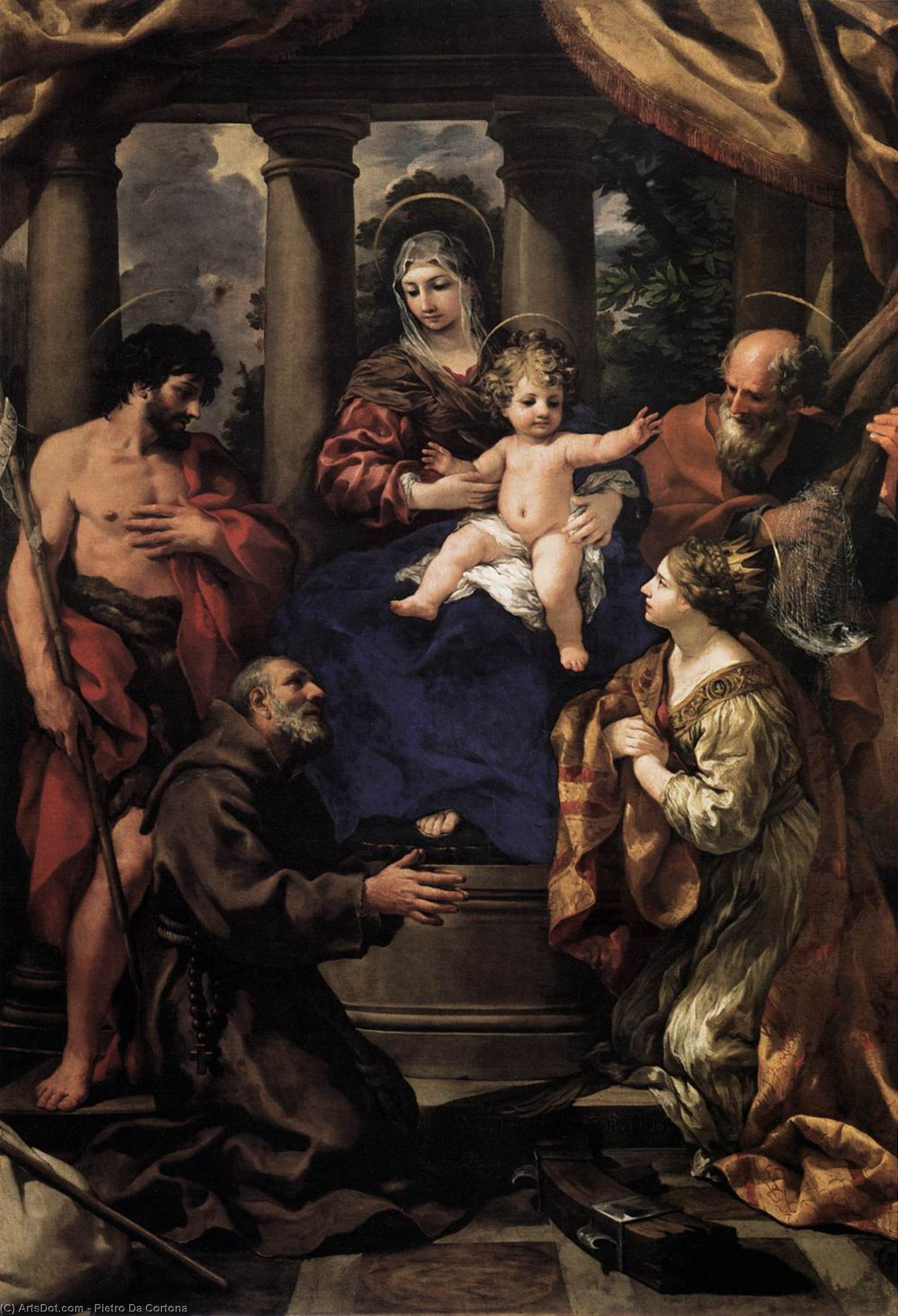 Virgin and Child with Saints, Oil On Canvas by Pietro Da Cortona (1596-1669, Italy)