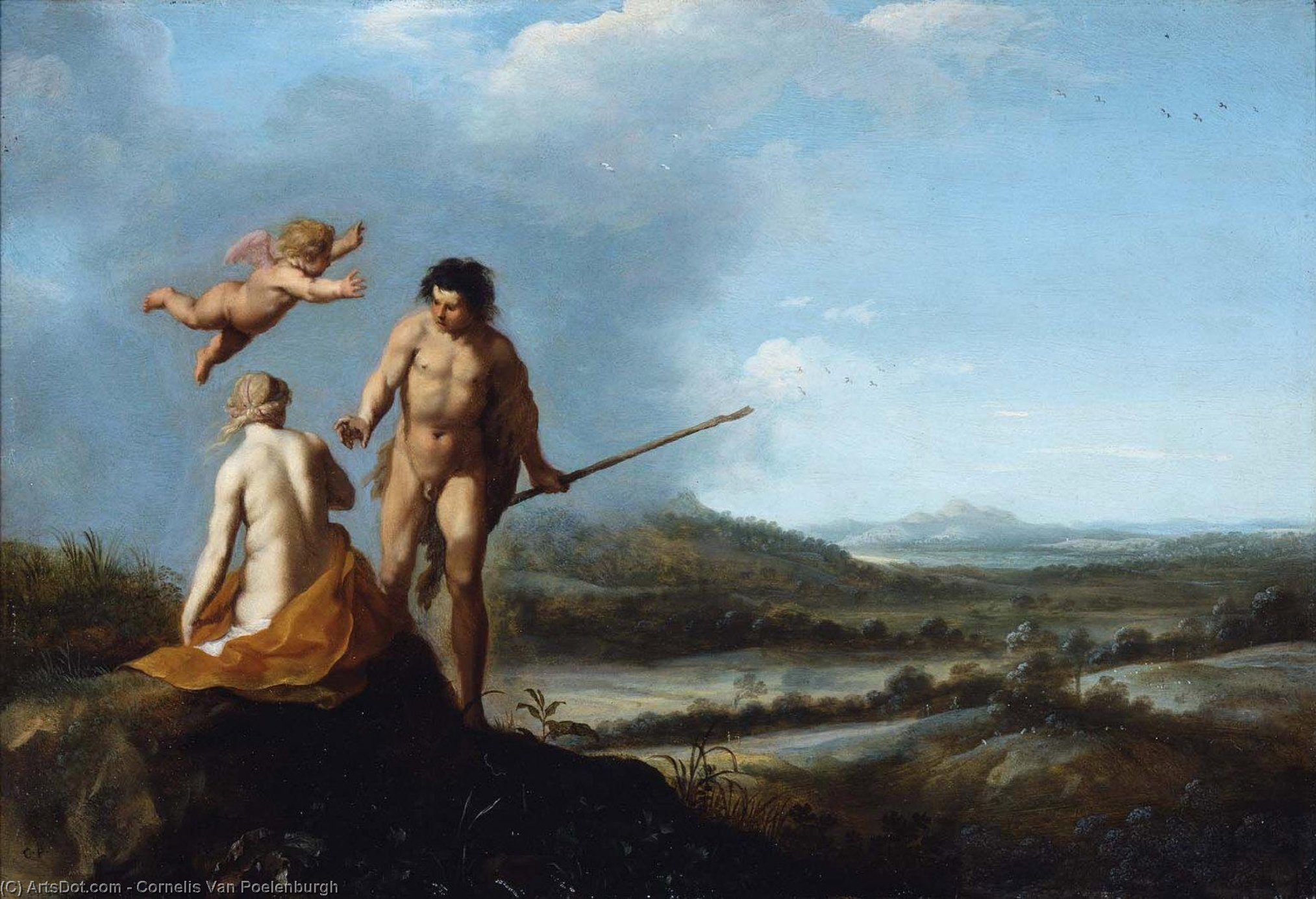 Nymph and Shepherd in Landscape, Oil On Copper by Cornelis Van Poelenburgh (1595-1667, Netherlands)
