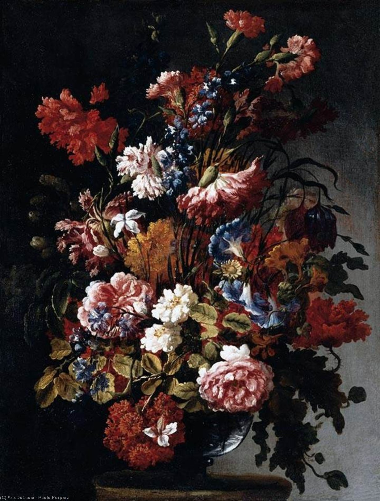 Still-Life of Flowers, Oil On Canvas by Paolo Porpora (1617-1673, Italy)