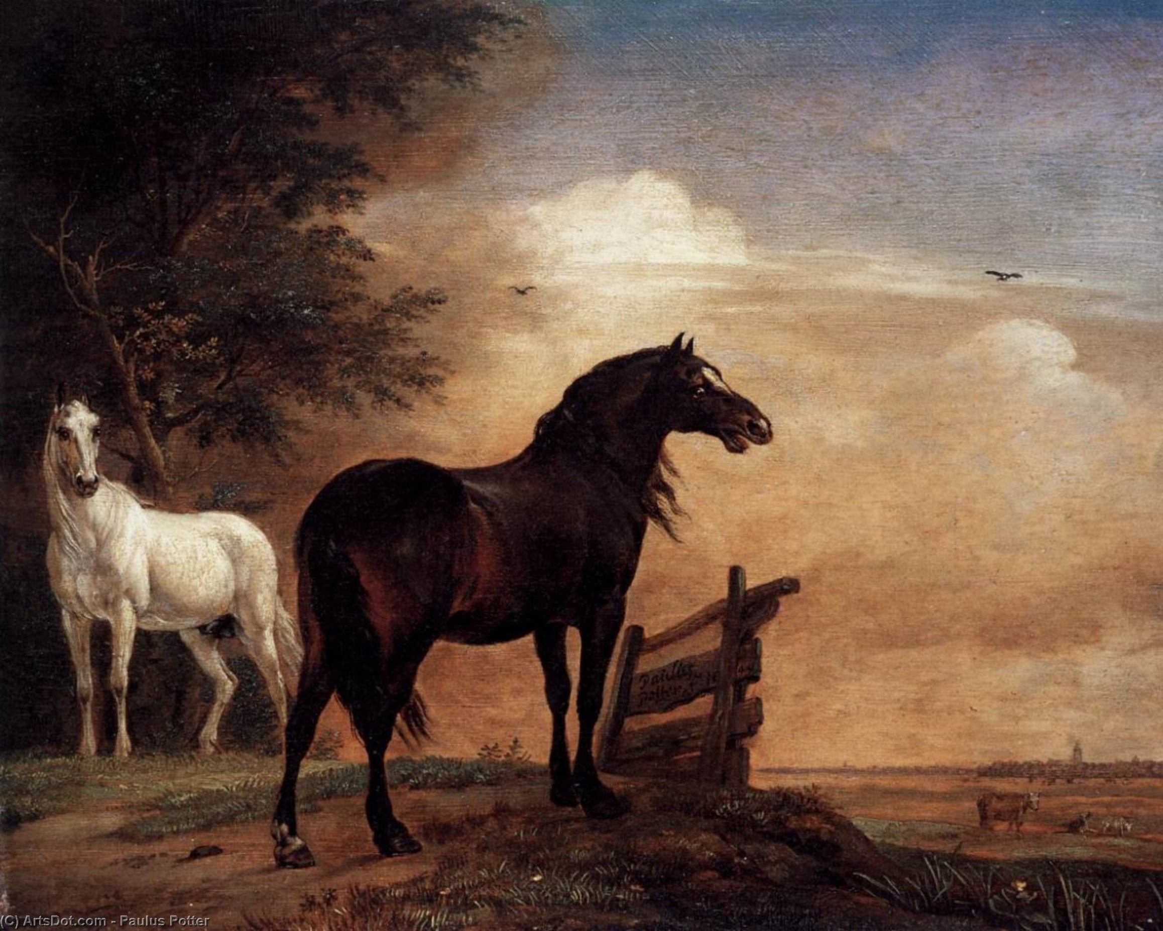 Horses in a Field, 1649 by Paulus Potter (1625-1654, Netherlands) | Oil Painting | ArtsDot.com