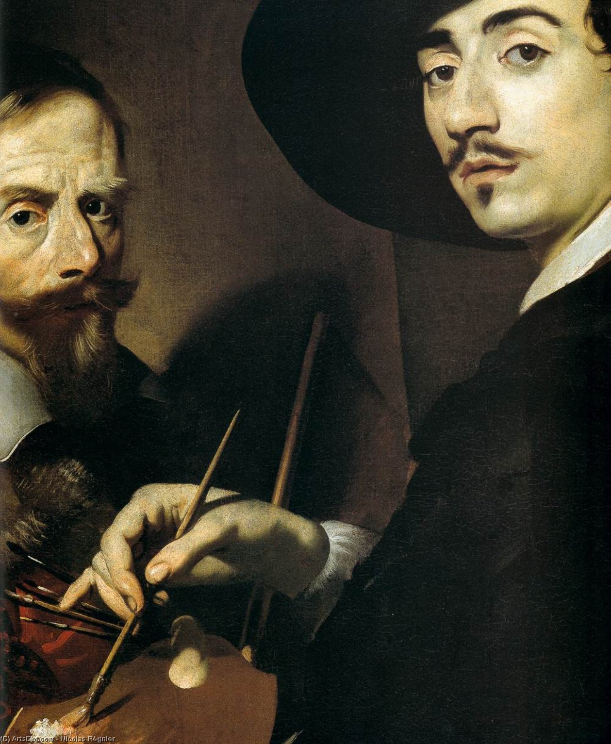Self-Portrait with a Portrait on an Easel (detail), Oil On Canvas by Nicolas Régnier (1591-1667, France)