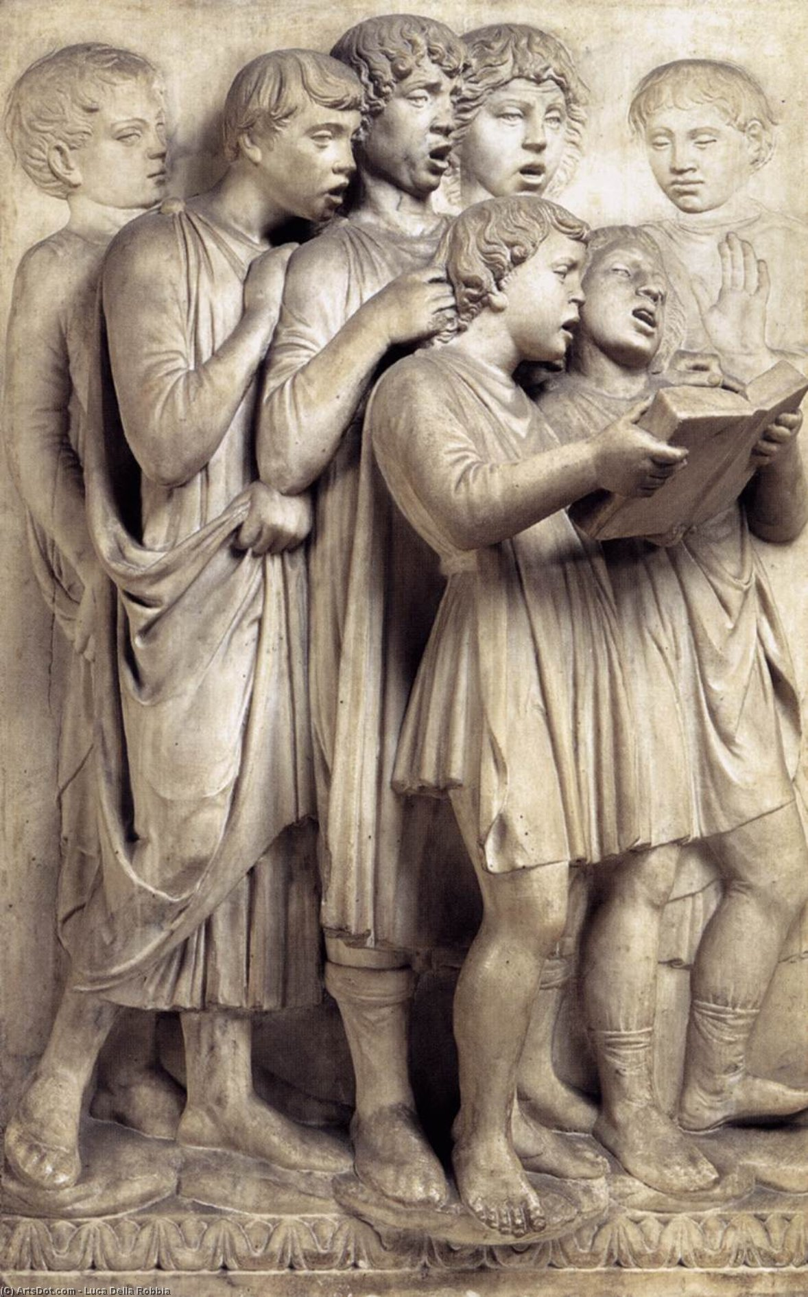 Cantoria: left side relief, Marble by Luca Della Robbia (1399-1483, Italy)
