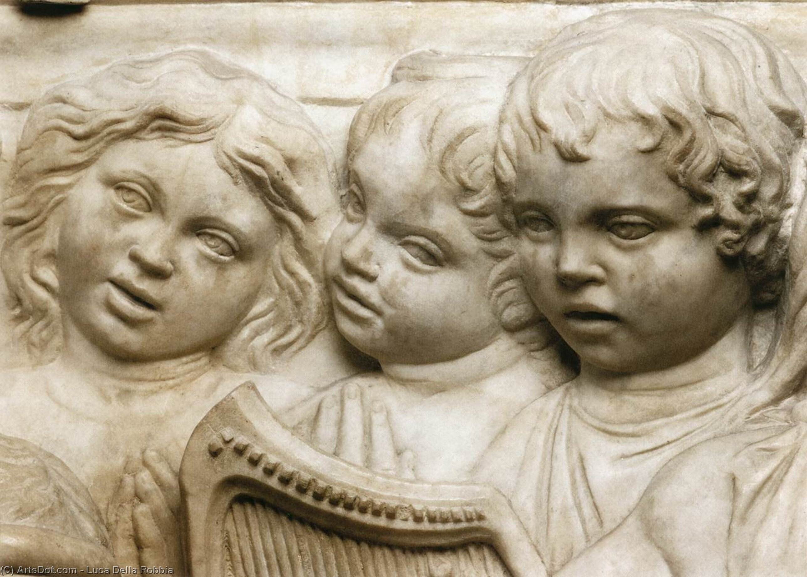 Cantoria: second bottom relief (detail), Marble by Luca Della Robbia (1399-1482, Italy)
