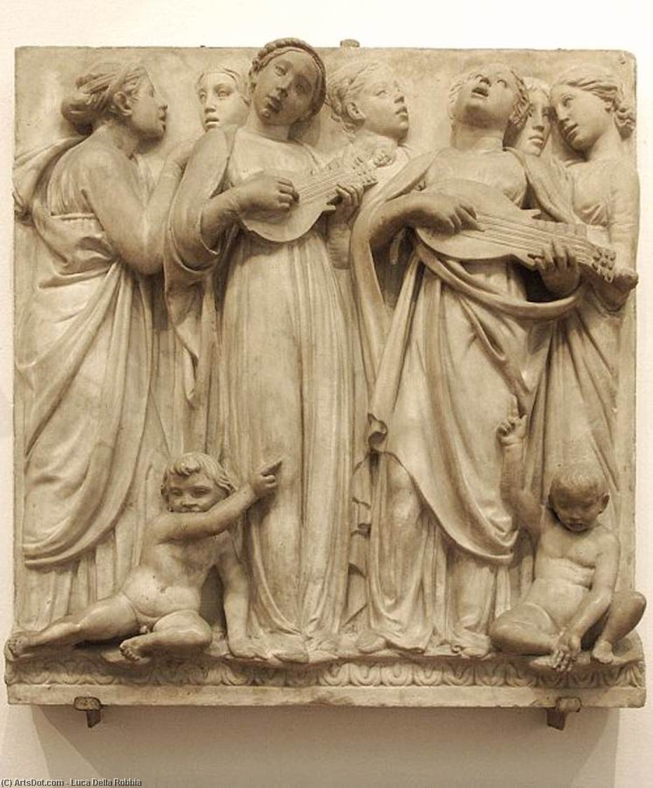 Cantoria: third top relief, Marble by Luca Della Robbia (1399-1483, Italy)