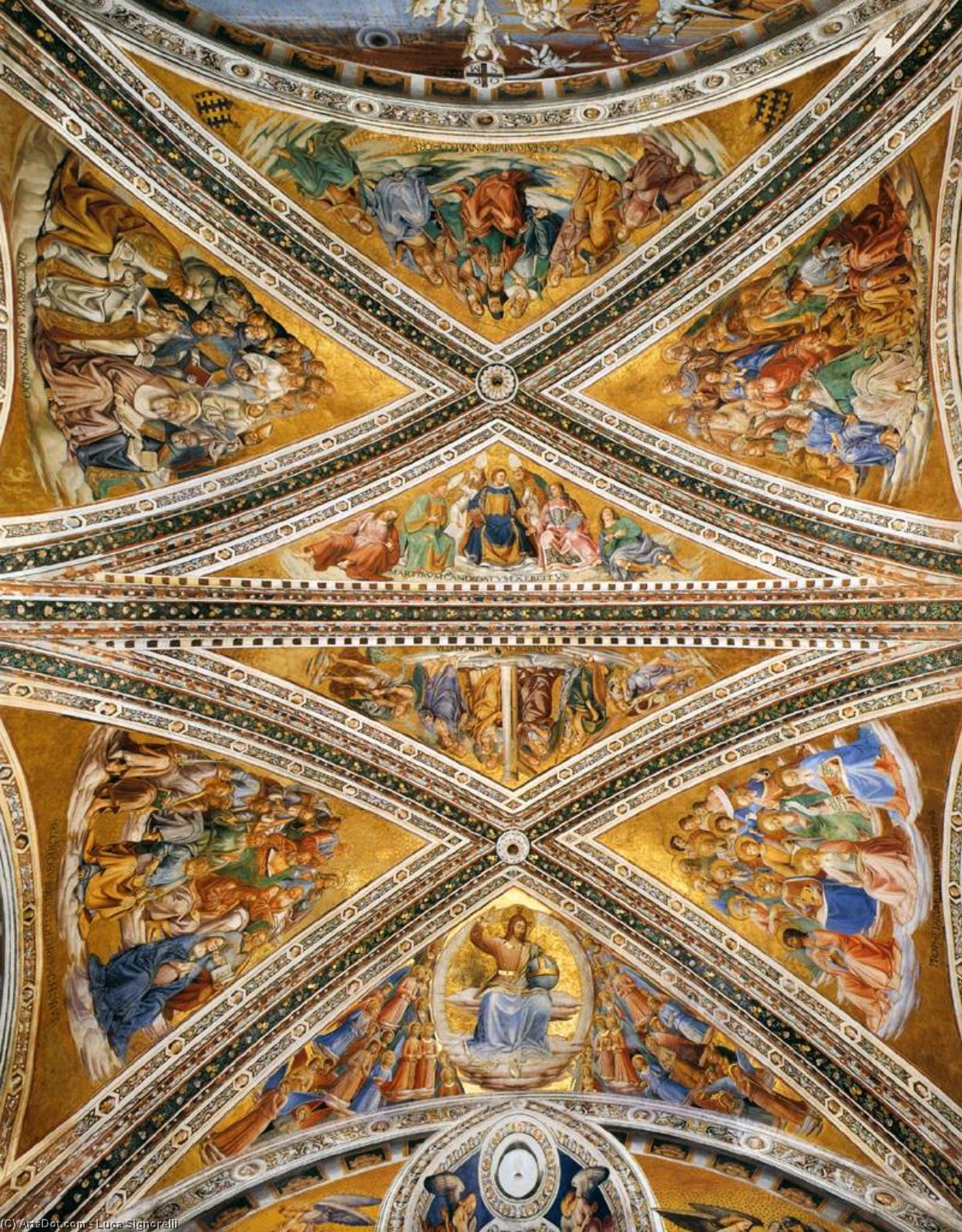 Ceiling Frescoes in the Chapel of San Brizio, Frescoes by Luca Signorelli  (order Fine Art oil painting Luca Signorelli)