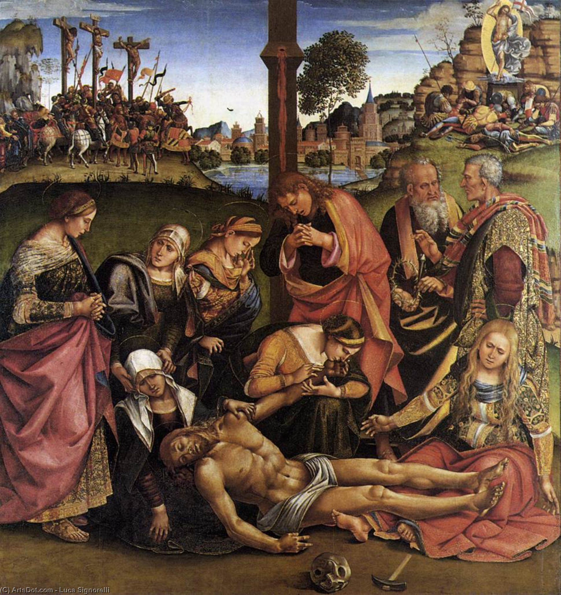 Lamentation over the Dead Christ, Wood by Luca Signorelli (1450-1523, Italy)