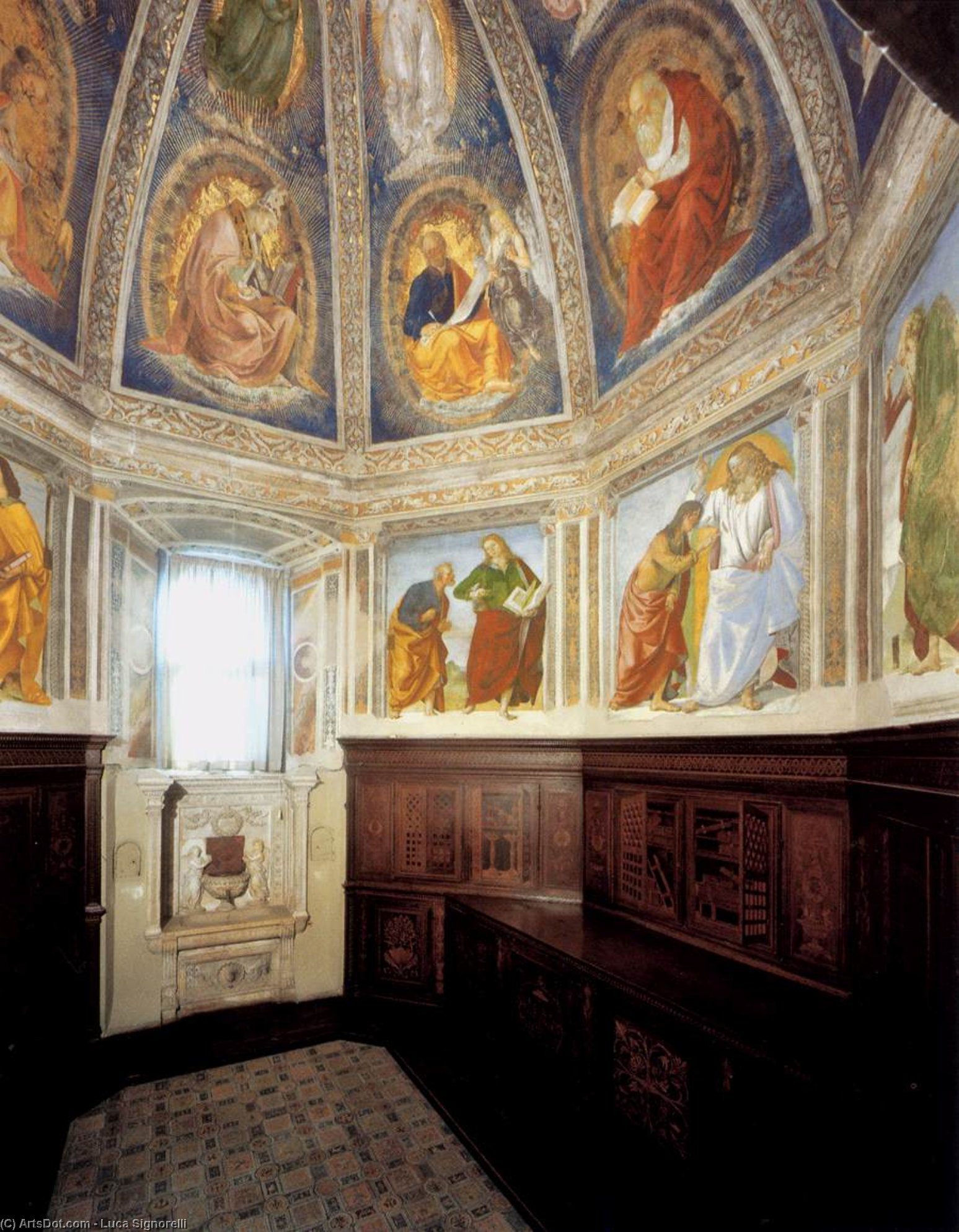 View of the Sacristy of St John, Frescoes by Luca Signorelli (1445-1523, Italy)