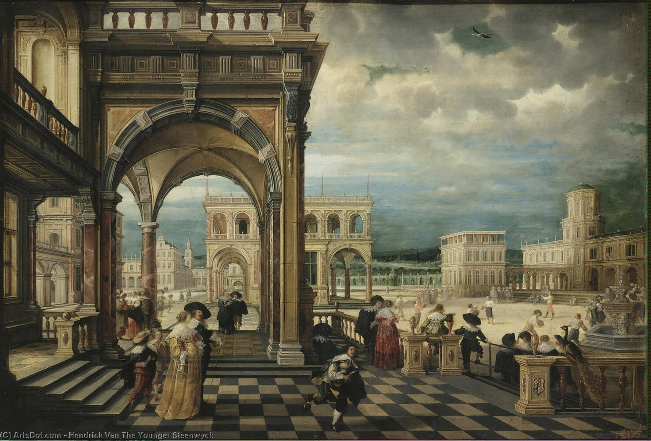 Italian Palace, Oil On Copper by Hendrick Van The Younger Steenwyck (1580-1649, Belgium)