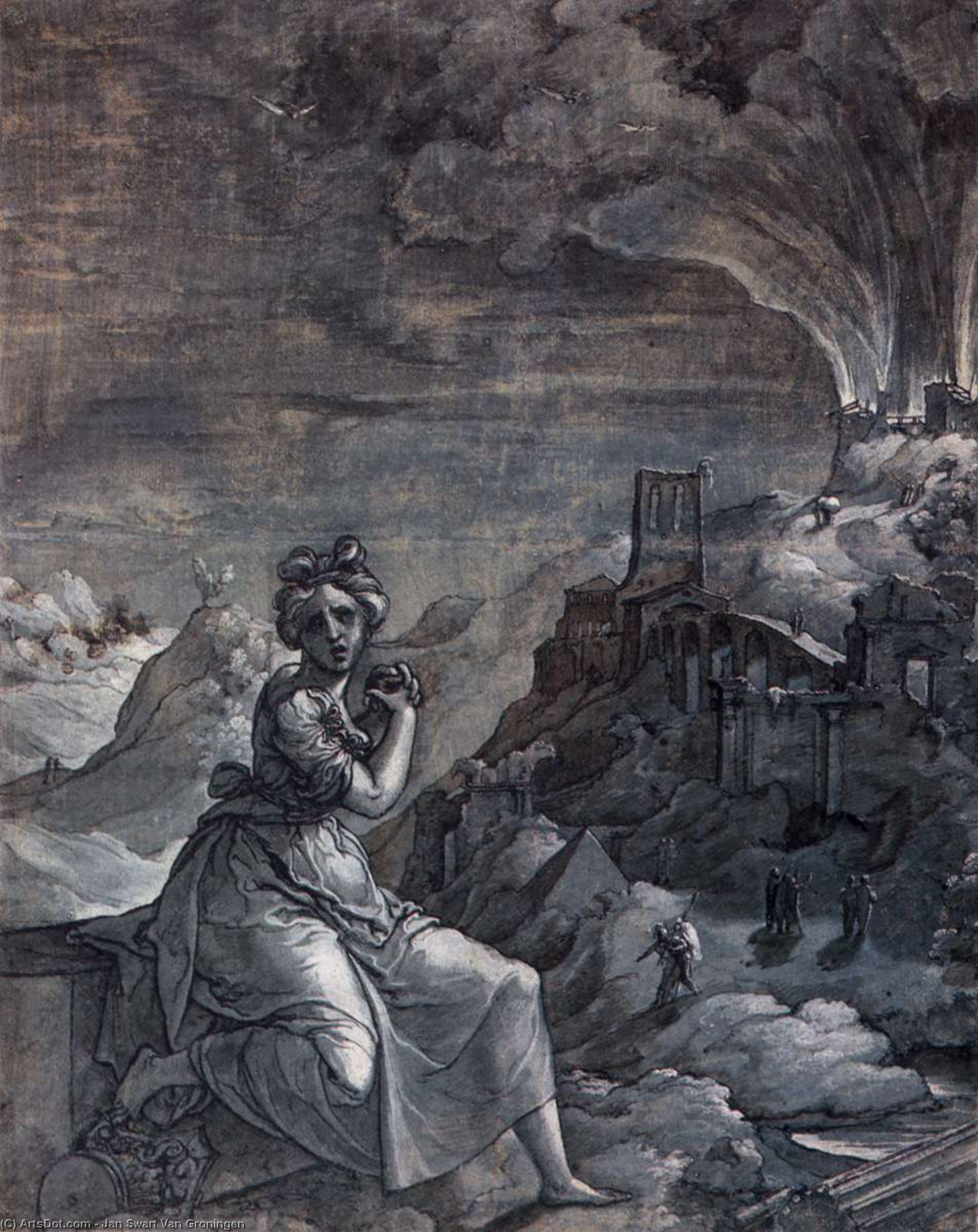 Woman Lamenting by a Burning City, 1550 by Jan Swart Van Groningen (1495-1563, Netherlands) | Reproductions Jan Swart Van Groningen | ArtsDot.com