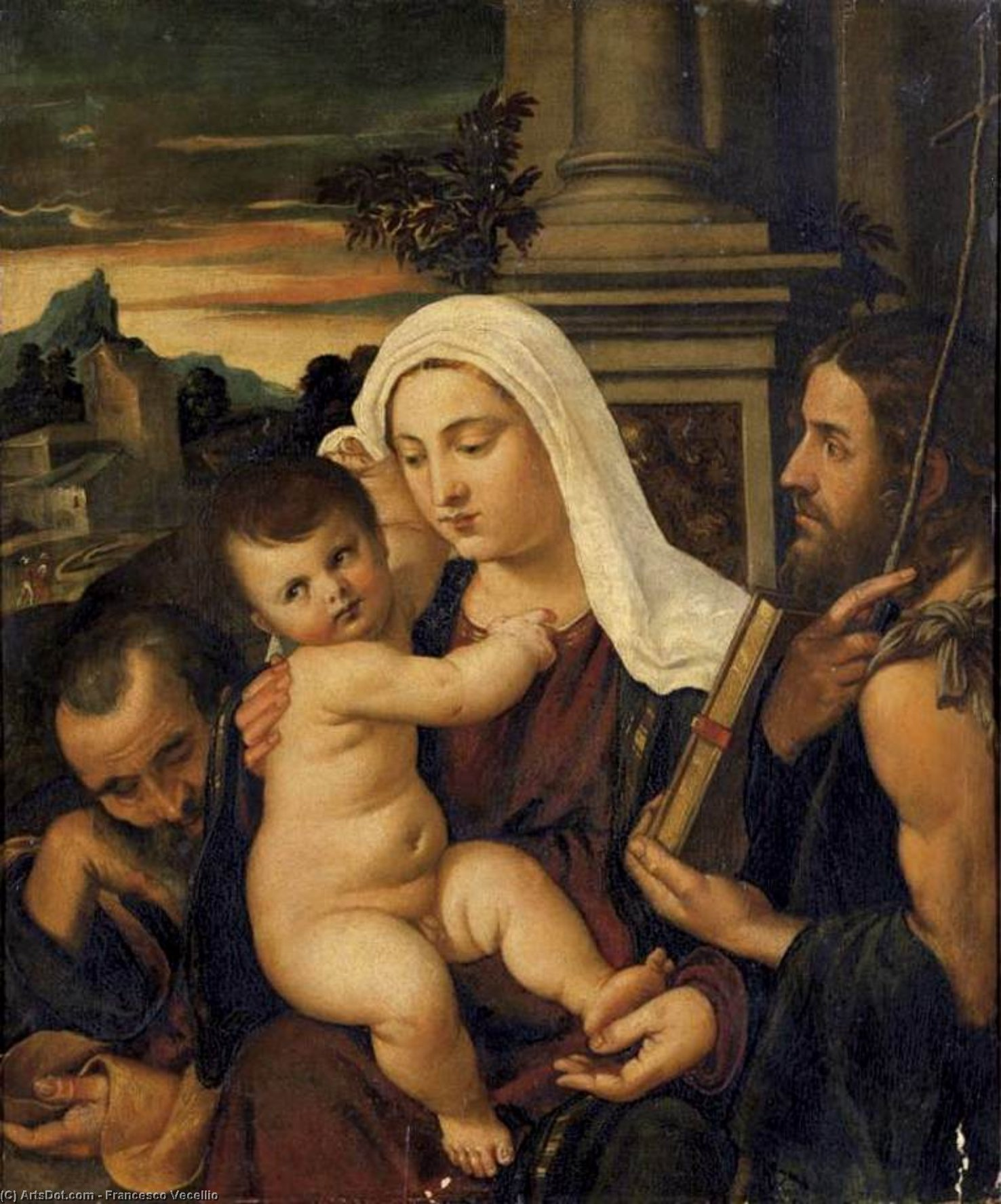 Madonna and Child with Sts Joseph and John the Baptist by Francesco Vecellio (1475-1560, Italy) | Paintings Reproductions Francesco Vecellio | ArtsDot.com
