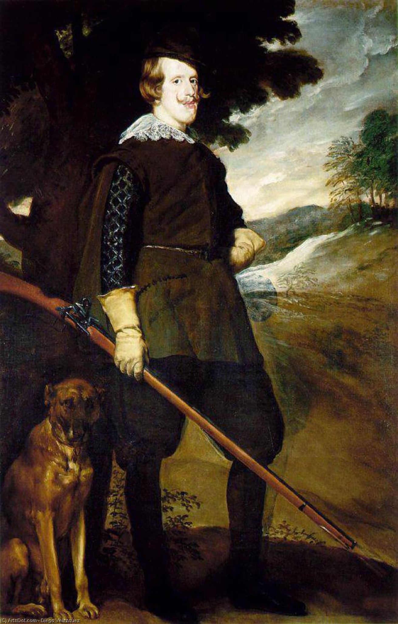 King Philip IV as a Huntsman, Oil On Canvas by Diego Velazquez (1599-1660, Spain)
