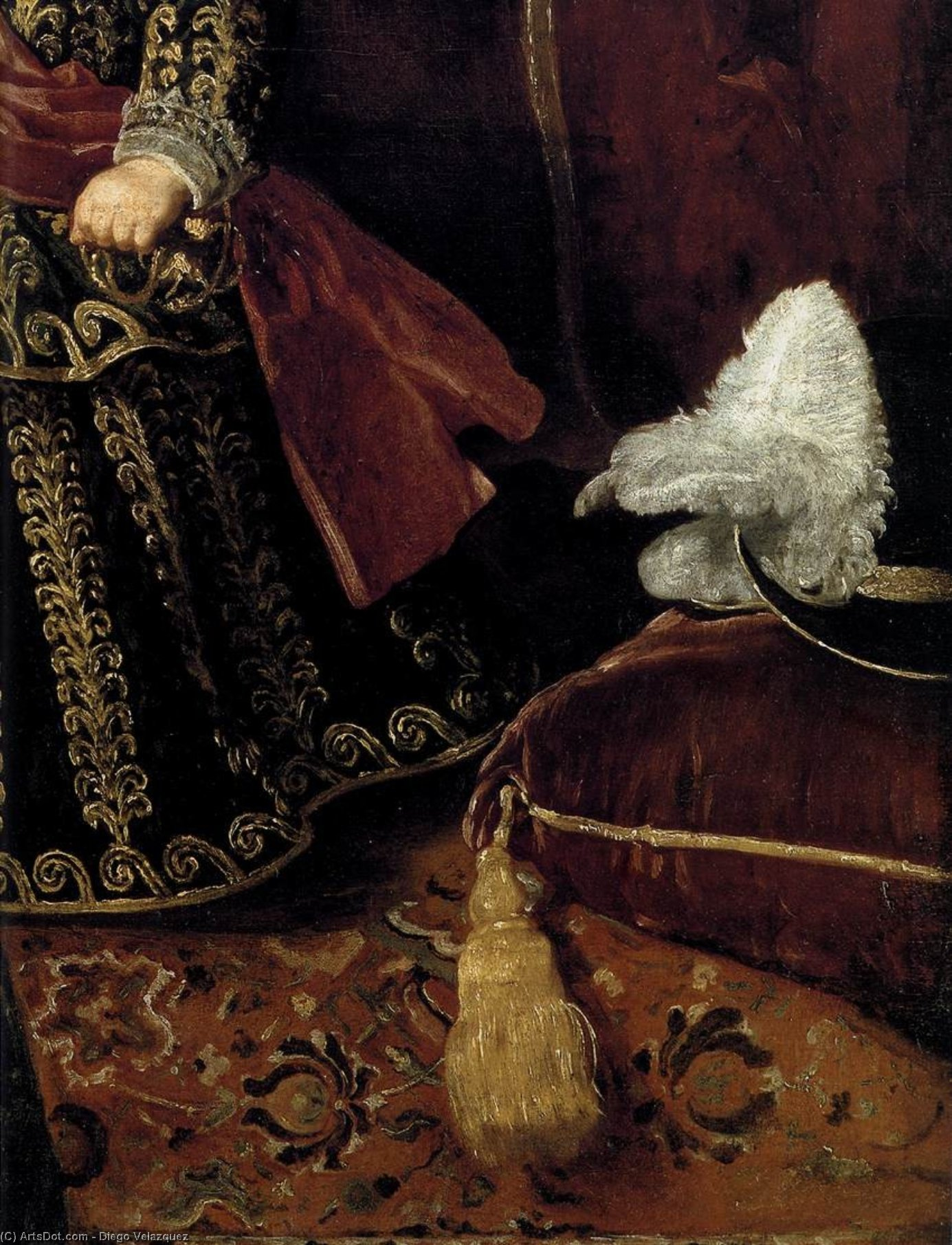 Prince Baltasar Carlos with a Dwarf (detail), Oil On Canvas by Diego Velazquez (1599-1660, Spain)