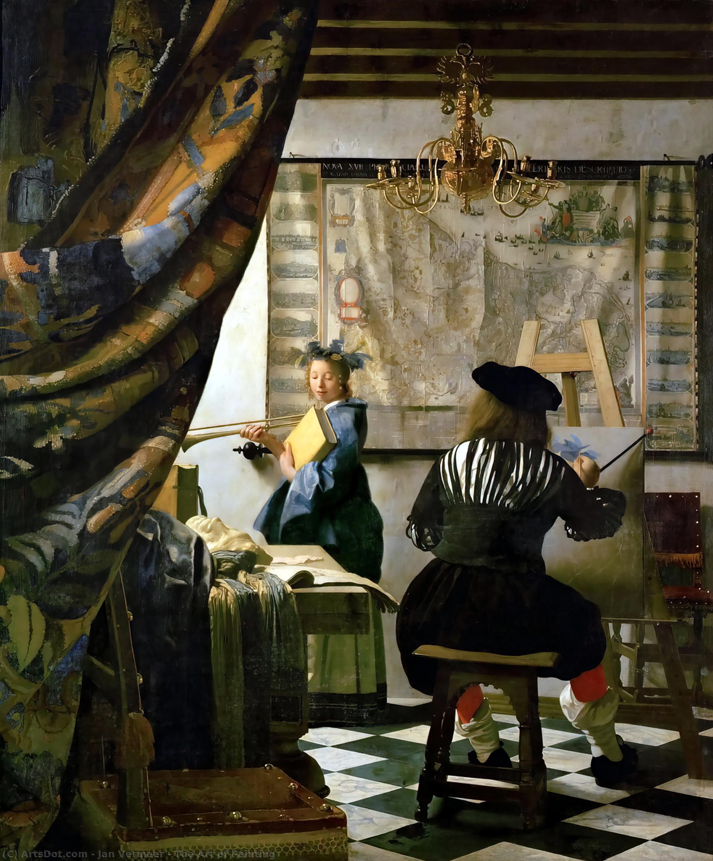 The Art of Painting, 1665 by Jan Vermeer (1632-1675, Netherlands) | Paintings Reproductions Jan Vermeer | ArtsDot.com