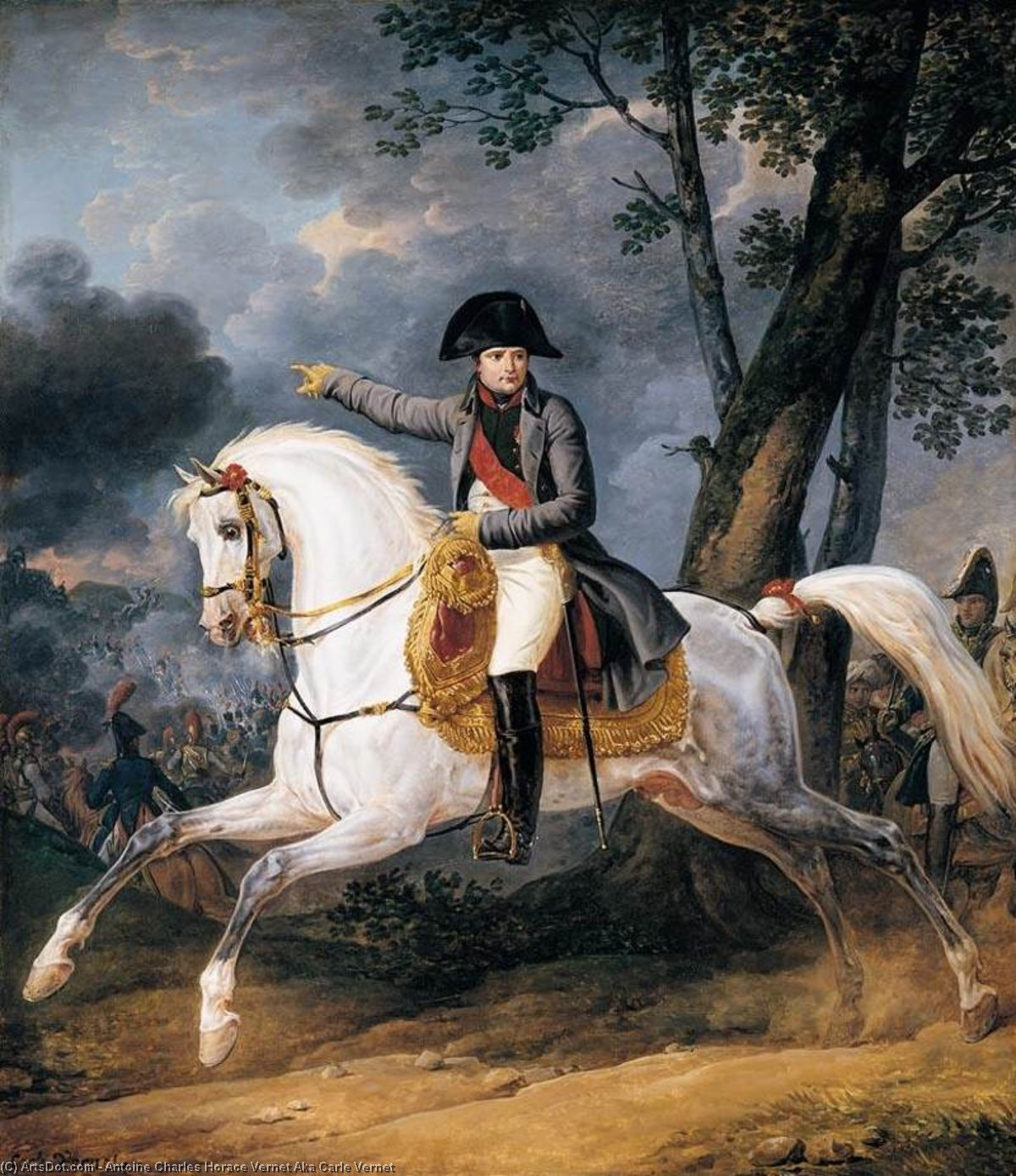 Equestrian Portrait of of Emperor Napoleon I, Oil On Canvas by Antoine Charles Horace Vernet Aka Carle Vernet (1758-1836, France)