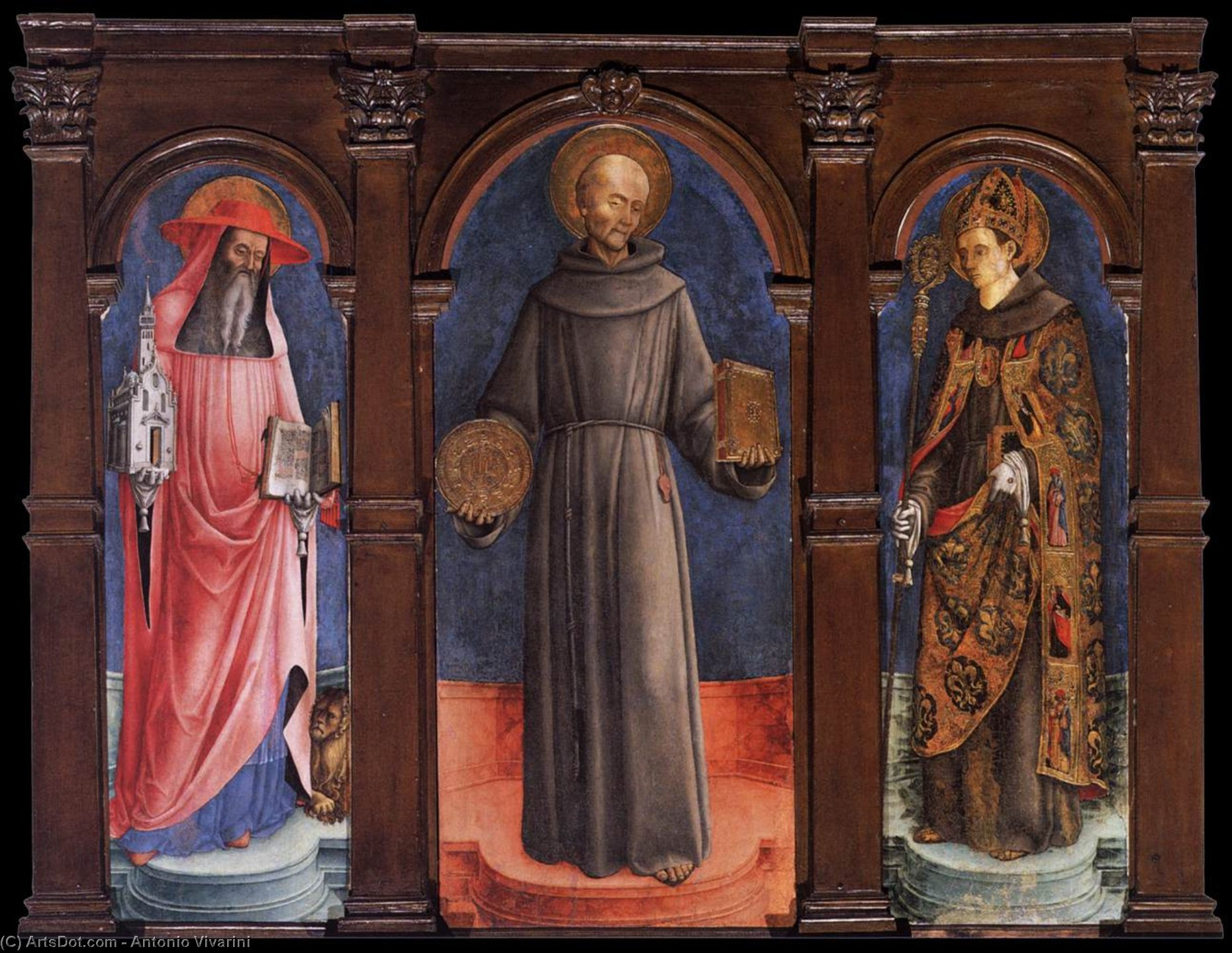 Sts Jerome, Bernardino of Siena, and Louis of Toulouse, Tempera by Antonio Vivarini (1440-1480, Italy)