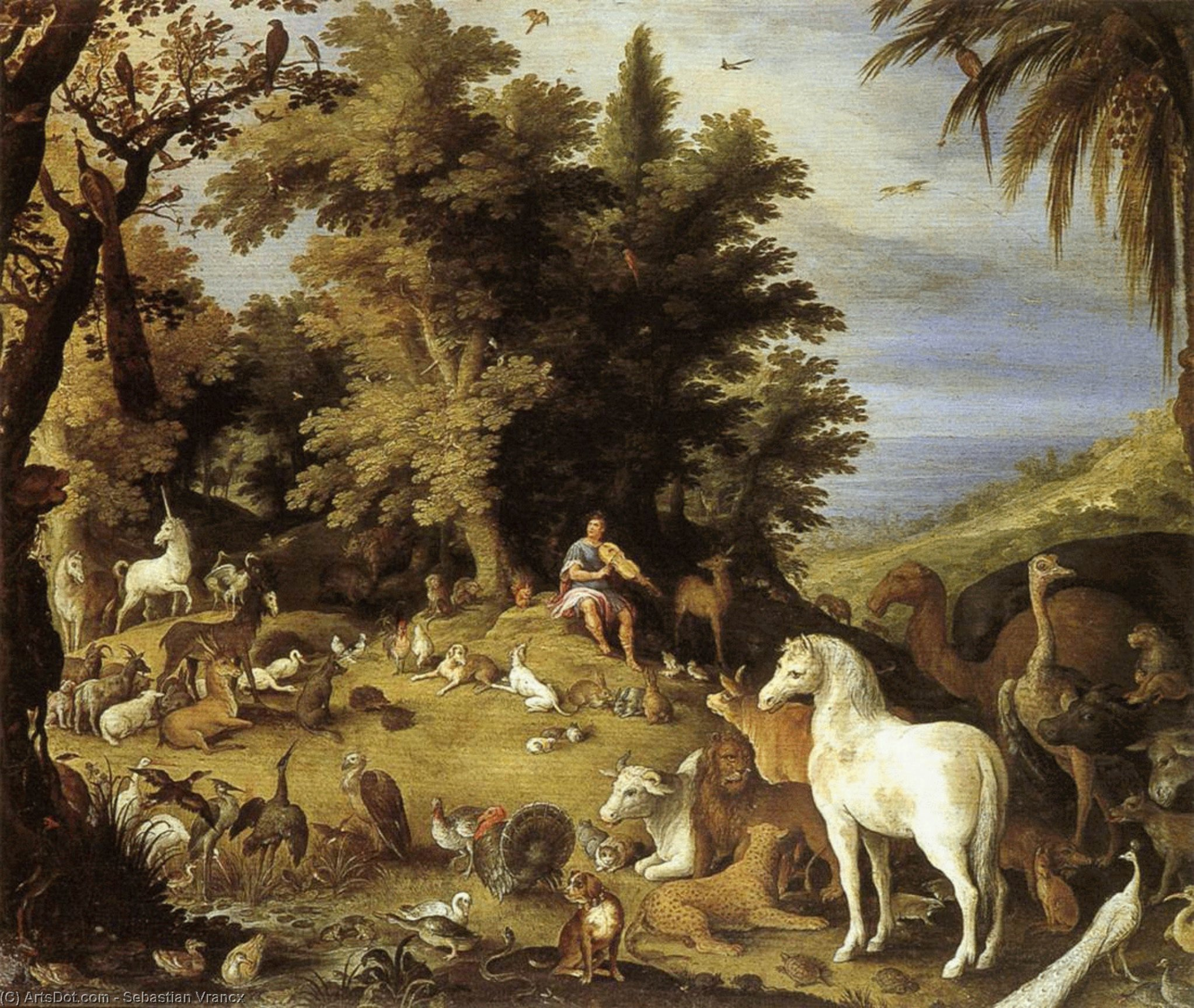 Orpheus and the Beasts, Oil On Panel by Sebastian Vrancx (1573-1647, Belgium)