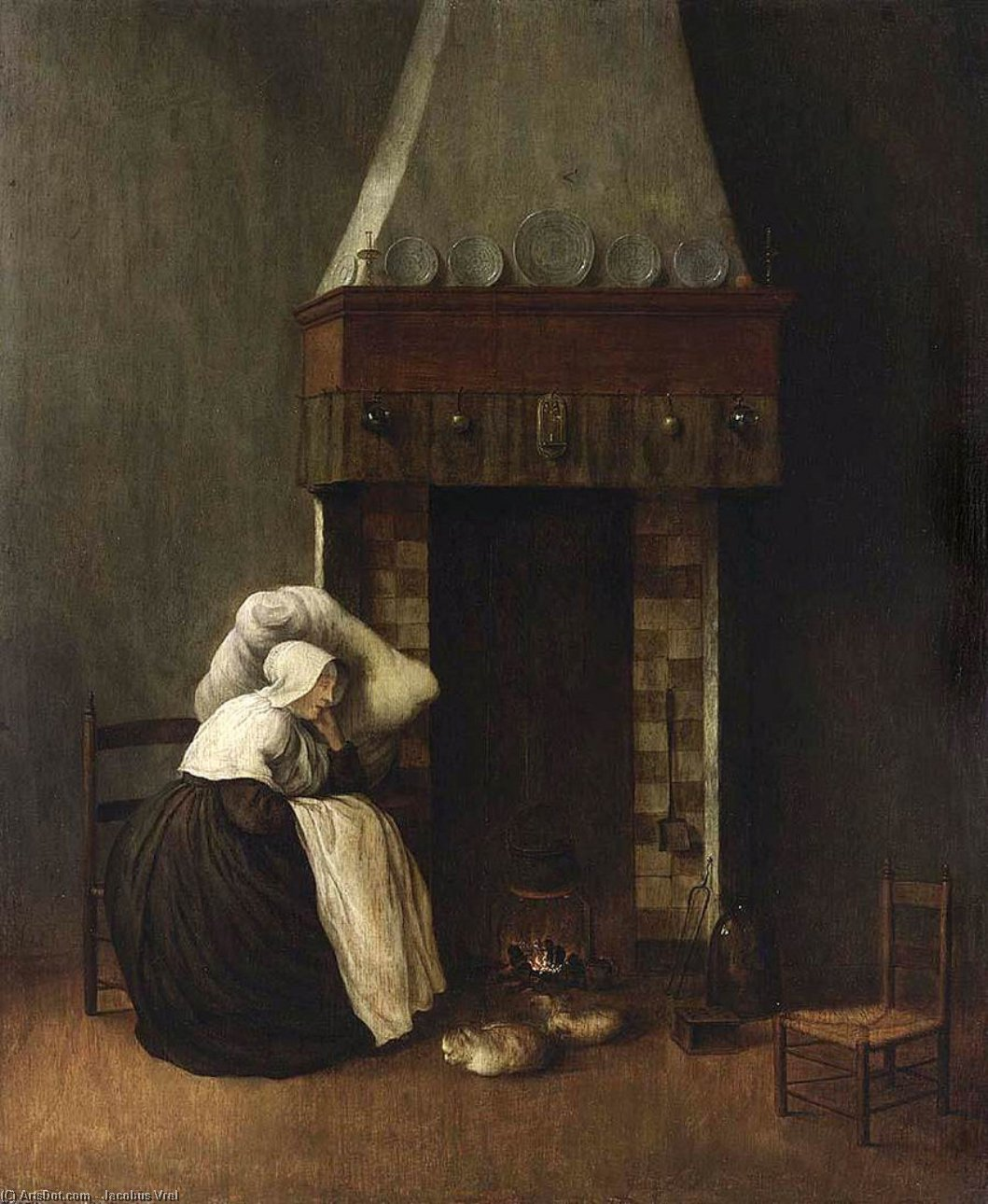 Sleeping Woman (The Convalescent), 1654 by Jacobus Vrel (1617-1681, Netherlands) | Reproductions Jacobus Vrel | ArtsDot.com