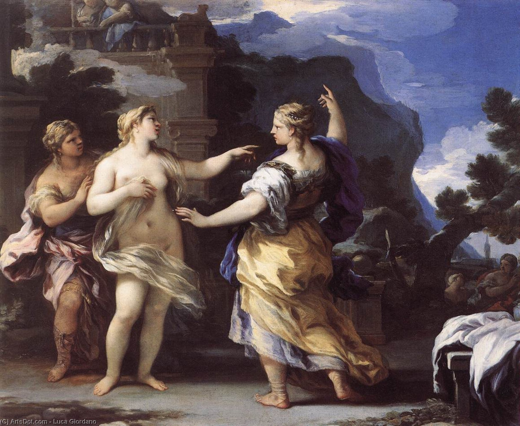 Venus Punishing Psyche with a Task (?), Oil On Copper by Luca Giordano (1634-1705, Italy)