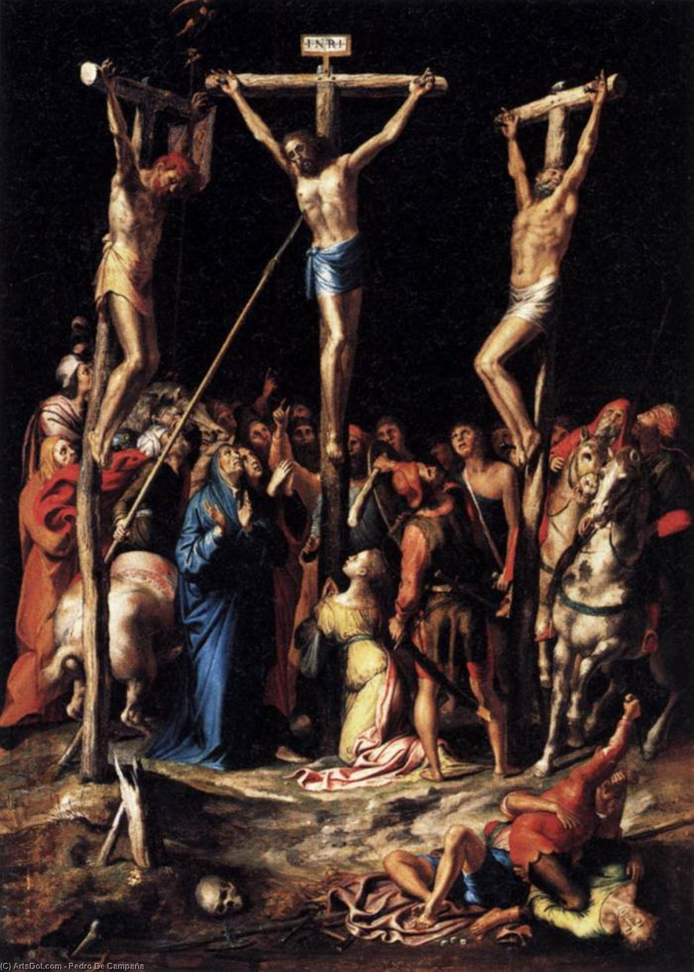 Crucifixion, Wood by Pedro De Campaña (1503-1586, Belgium)