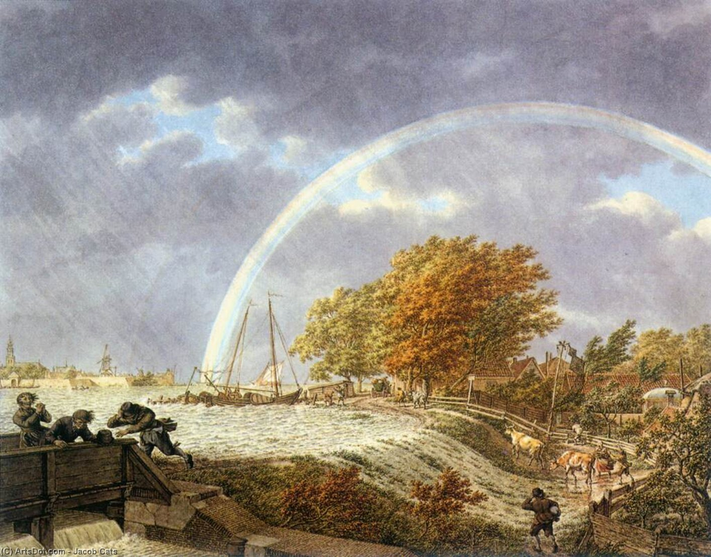 Autumn Landscape with Rainbow, 1779 by Jacob Cats (1577-1660, Netherlands) | Paintings Reproductions Jacob Cats | ArtsDot.com