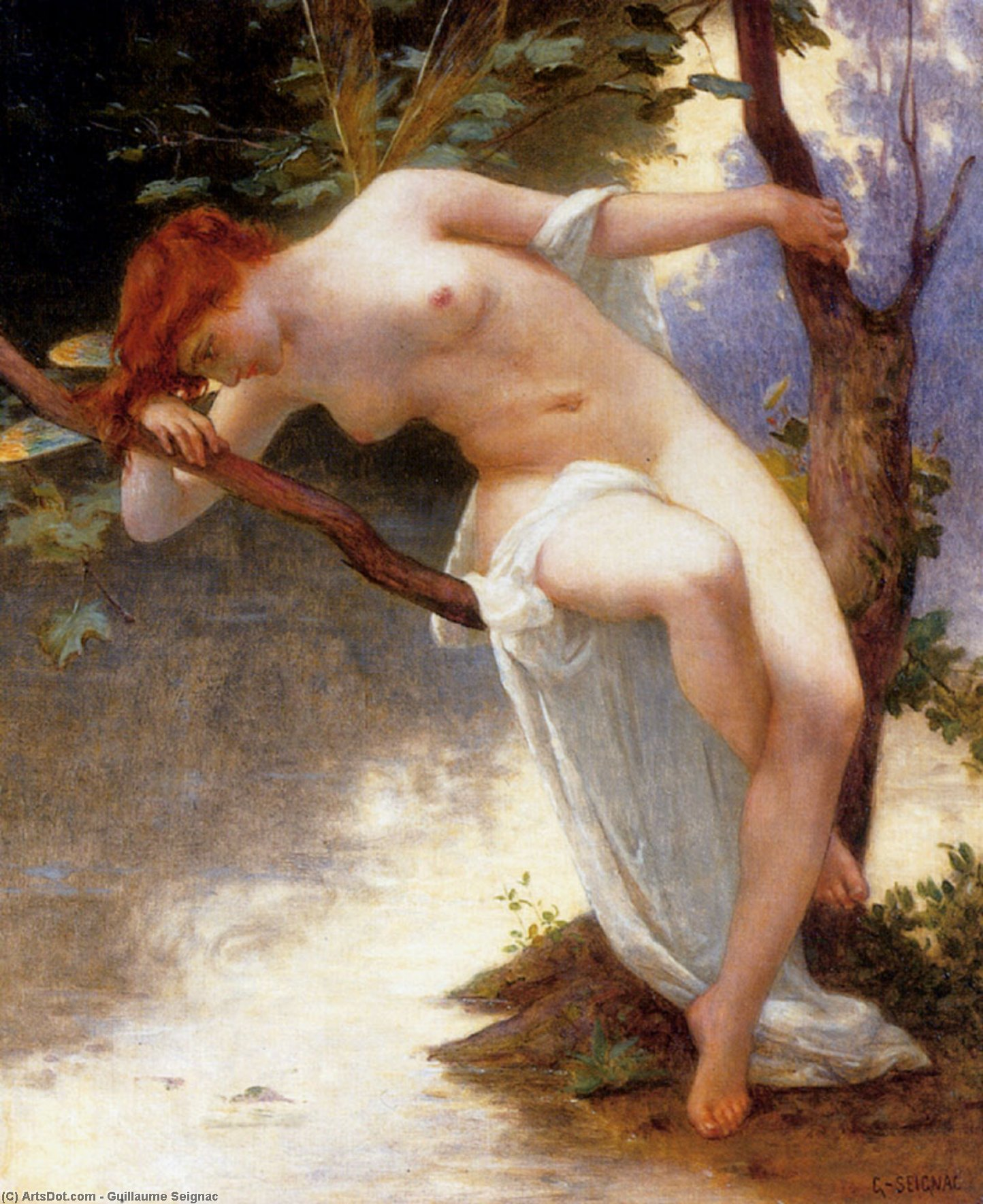 La Libellule, Oil On Canvas by Guillaume Seignac (1870-1924, France)