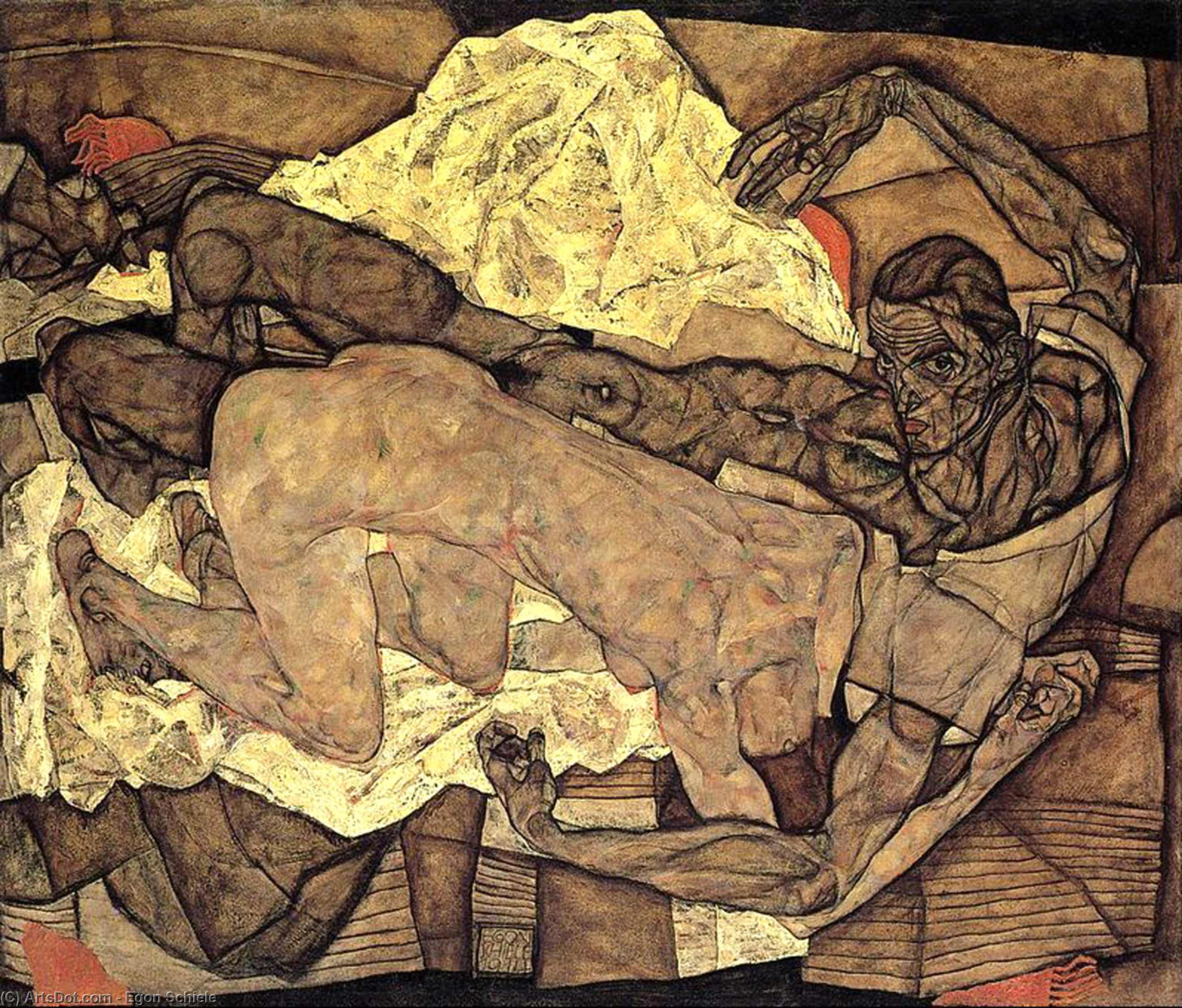 Order Paintings Reproductions | Lovers: Man and Woman I, 1914 by Egon Schiele (1890-1918, Croatia) | ArtsDot.com