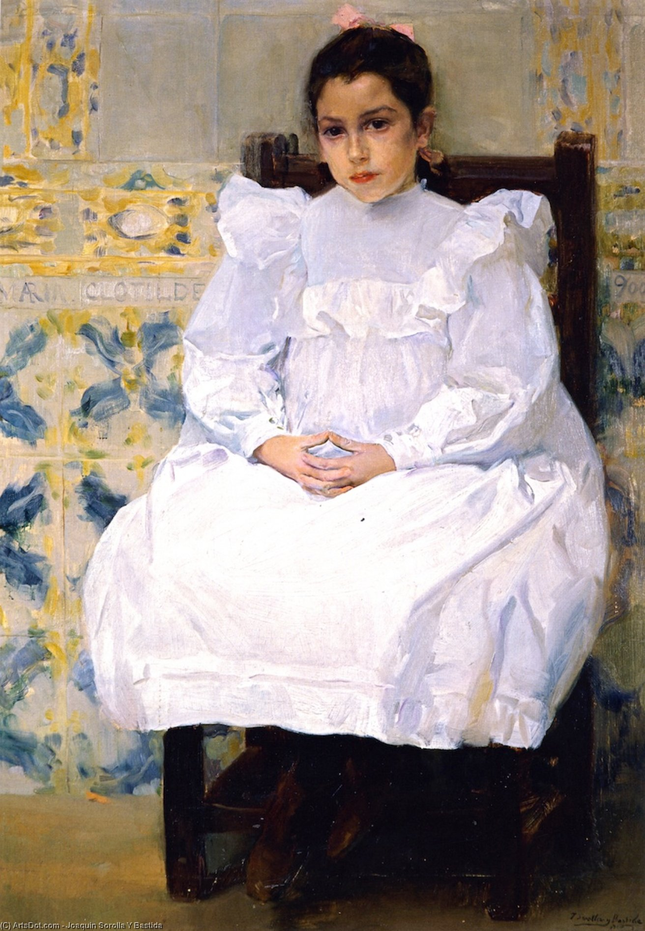 Mariana de Pontejos (also known as Maria Clotilde), Oil On Canvas by Joaquin Sorolla Y Bastida (1863-1923, Spain)