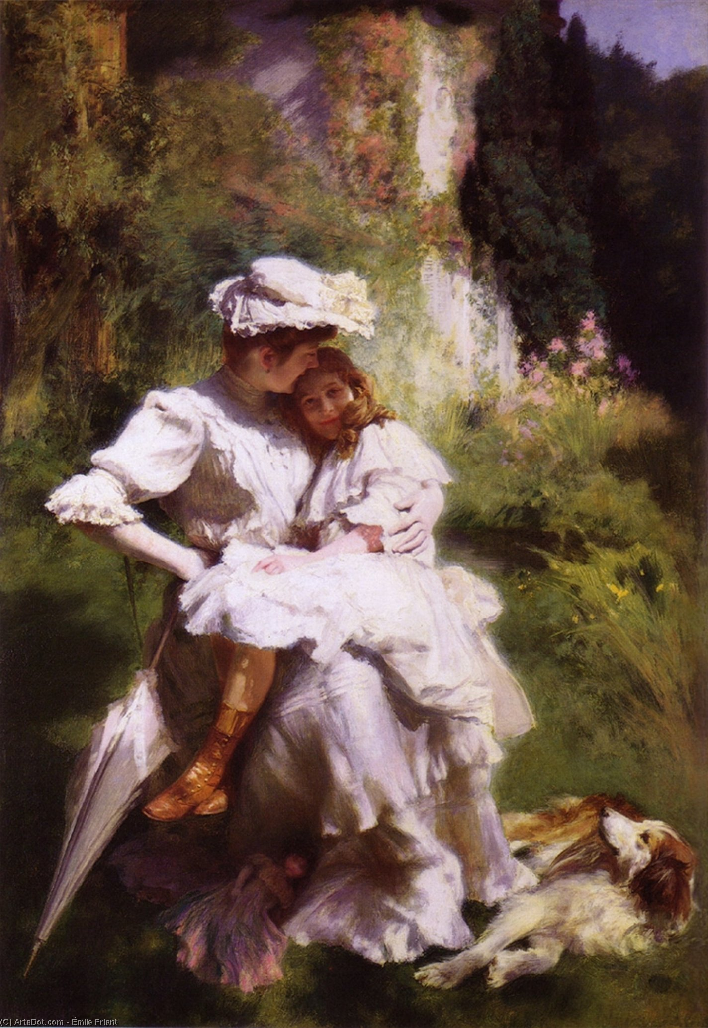 Maternal Tenderness, Oil On Canvas by Émile Friant (1863-1932, France)