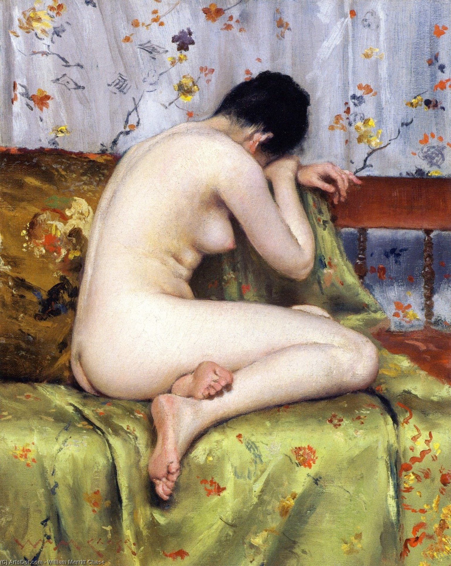 A Modern Magdalen (also known as Nude inan Interior), Oil On Canvas by William Merritt Chase (1849-1916, United States)