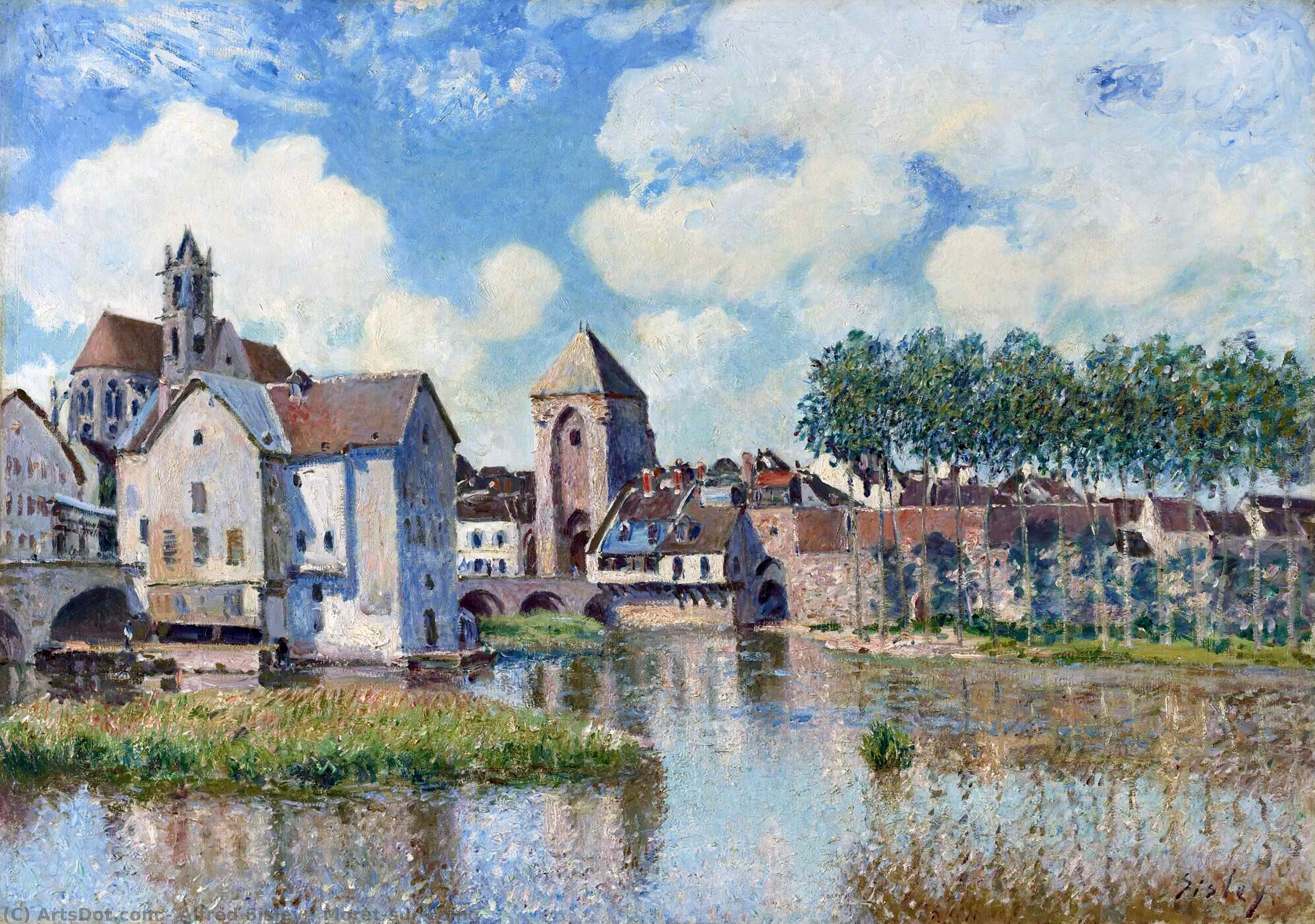 Moret-sur-Loing, 1888 by Alfred Sisley (1839-1899, France) | Paintings Reproductions Alfred Sisley | ArtsDot.com