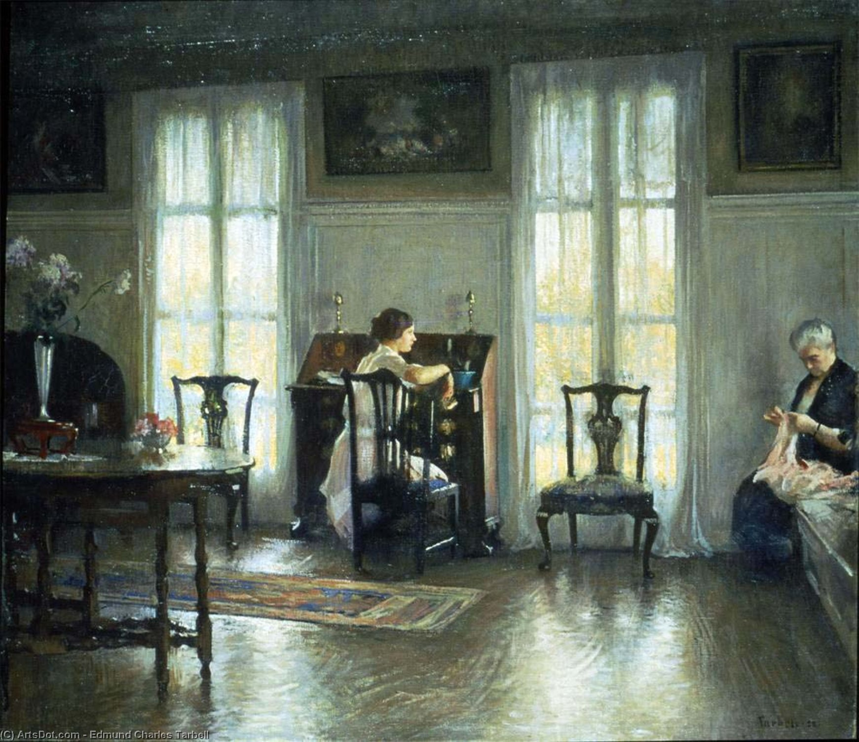 Mother and Mary, Oil On Canvas by Edmund Charles Tarbell (1862-1938, United States)
