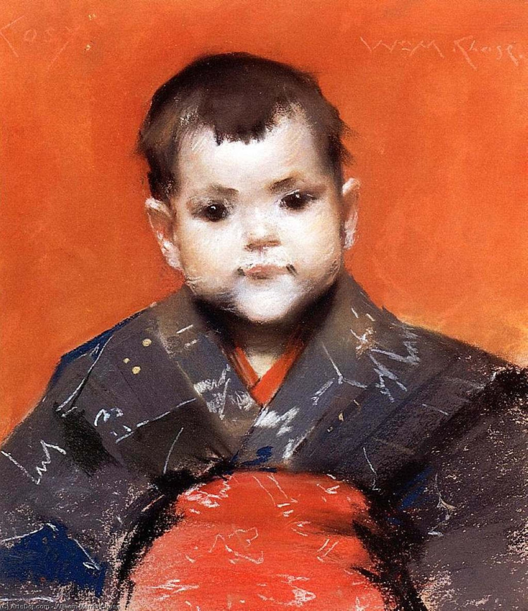 My Baby (also known as Cosy), Drawing by William Merritt Chase (1849-1916, United States)