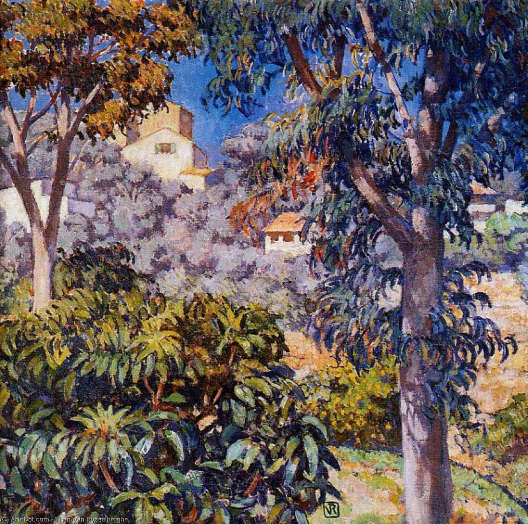 Noon Landscape, Oil On Canvas by Theo Van Rysselberghe (1862-1926, Belgium)