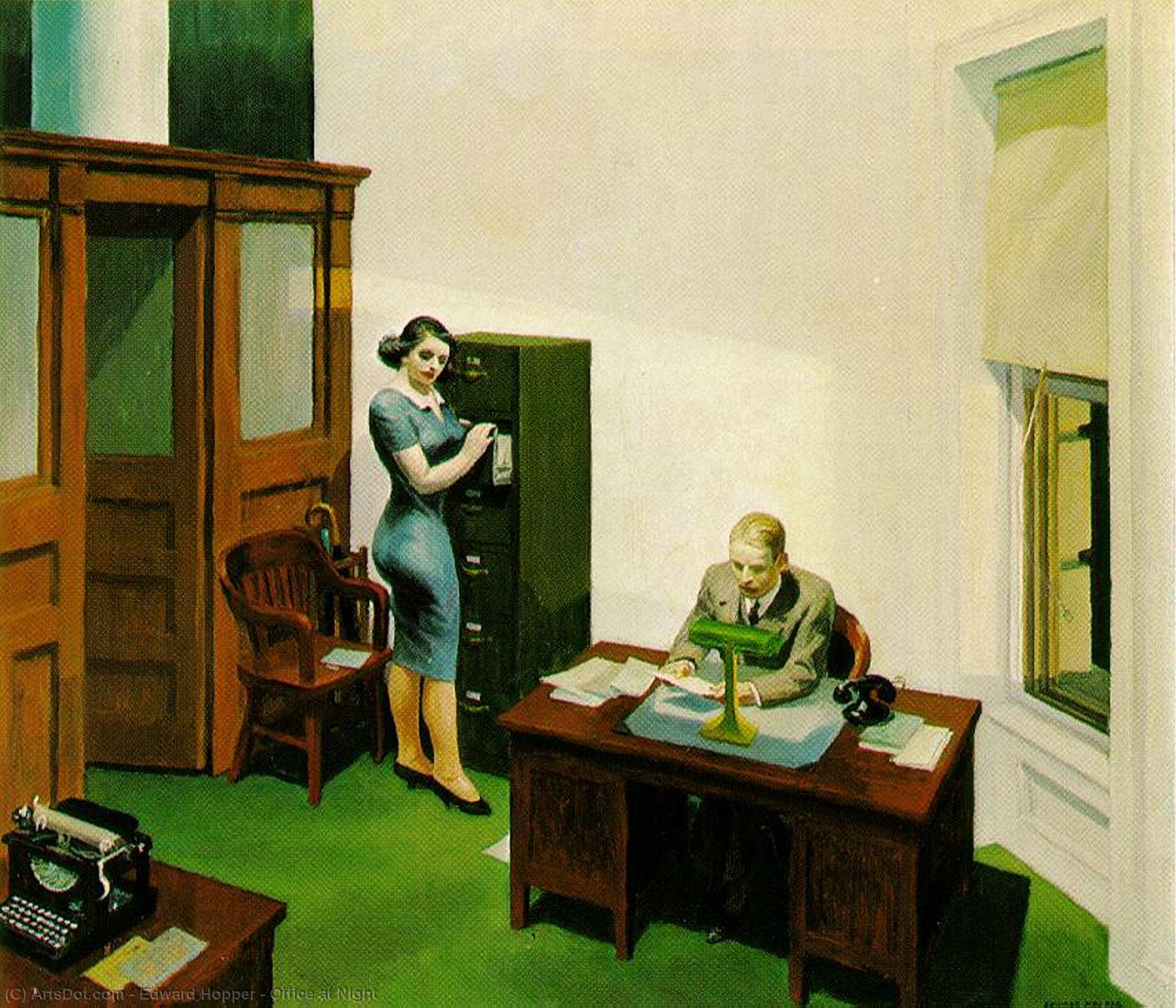 Office at Night, 1940 by Edward Hopper (1931-1967, United States) | Painting Copy | ArtsDot.com