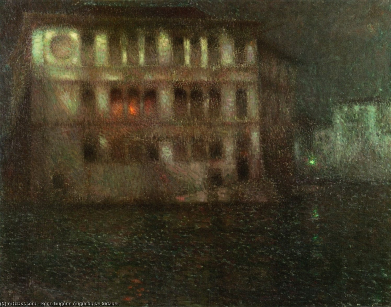 The Old Palace, Moonlight, Venice, Oil On Canvas by Henri Eugène Augustin Le Sidaner (1862-1939, Mauritius)