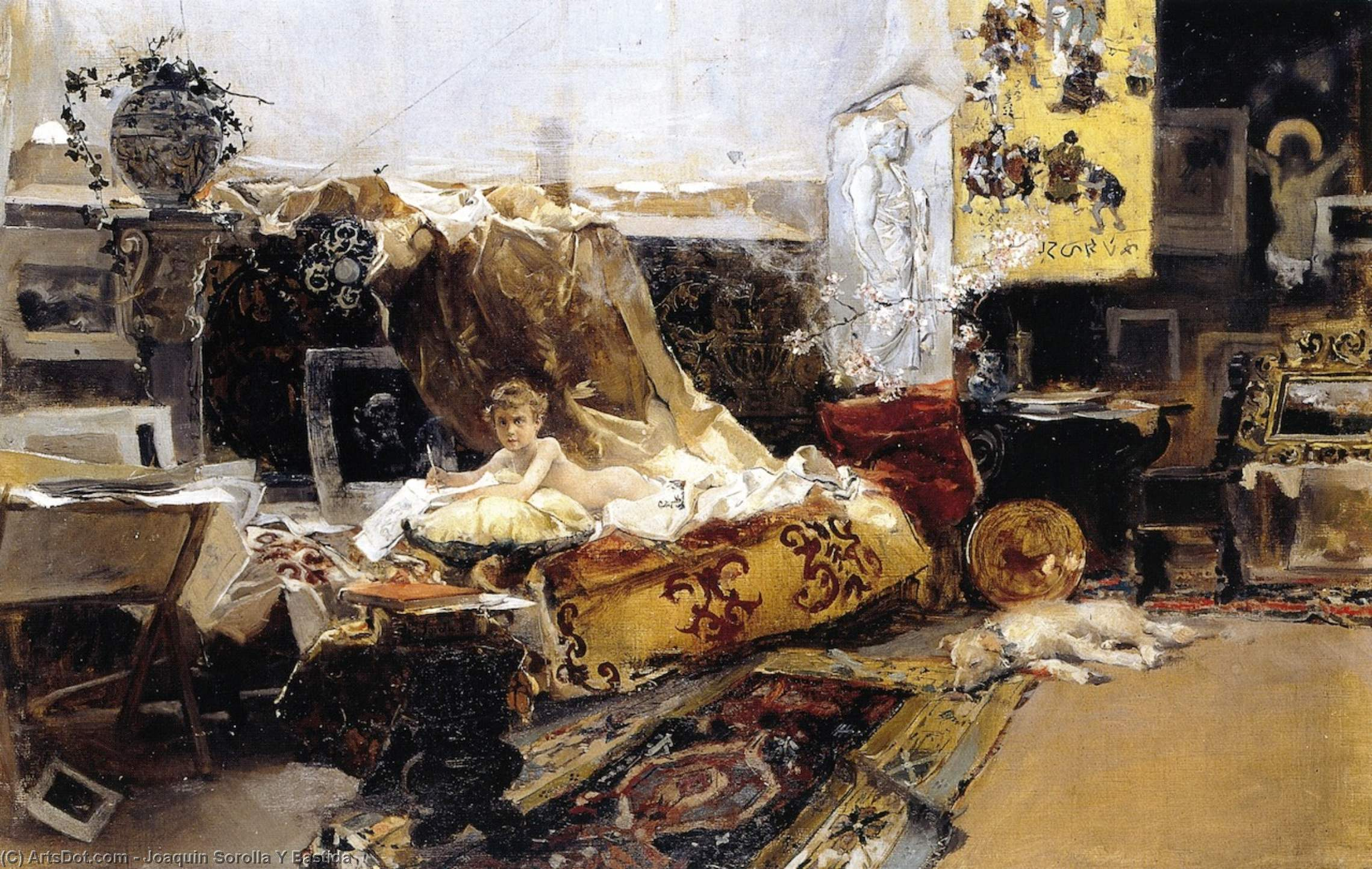 The Painter's Studio, Oil On Canvas by Joaquin Sorolla Y Bastida (1863-1923, Spain)