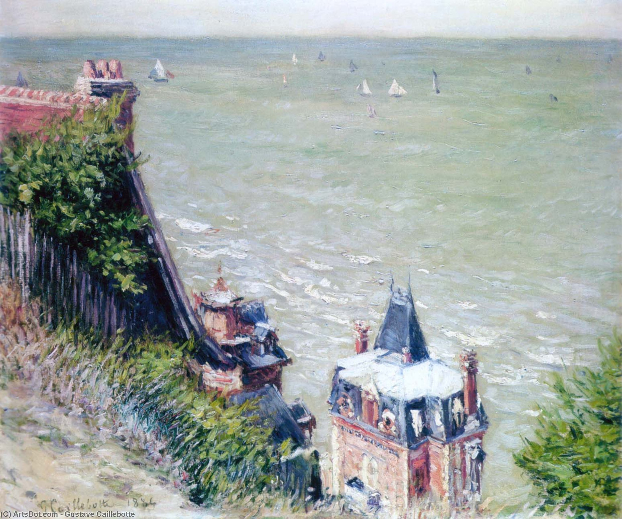 Pink Villas at Trouville, 1884 by Gustave Caillebotte (1848-1894, France) | Oil Painting | ArtsDot.com