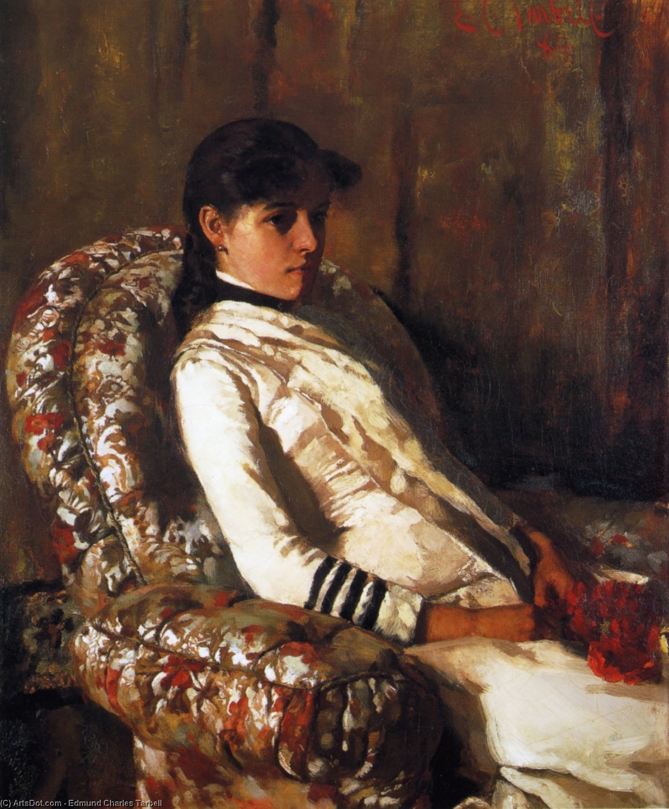 Portrait of Mrs. Tarbell (as a Girl), Oil On Canvas by Edmund Charles Tarbell (1862-1938, United States)