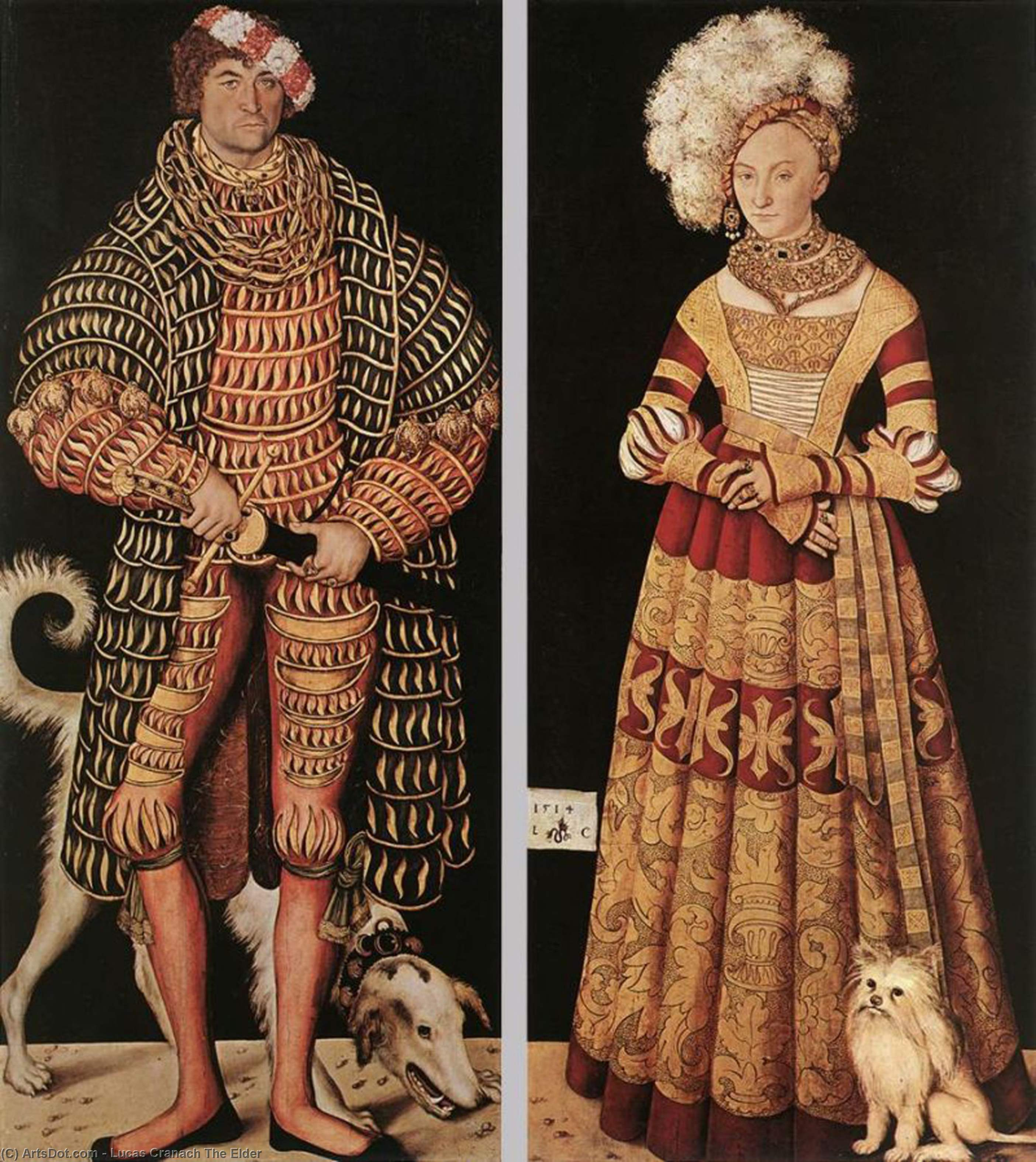 Portraits of Henry the Pious, Duke of Saxony and his wife Katharina von Mecklenburg, Oil On Canvas by Lucas Cranach The Elder (1472-1553, Germany)