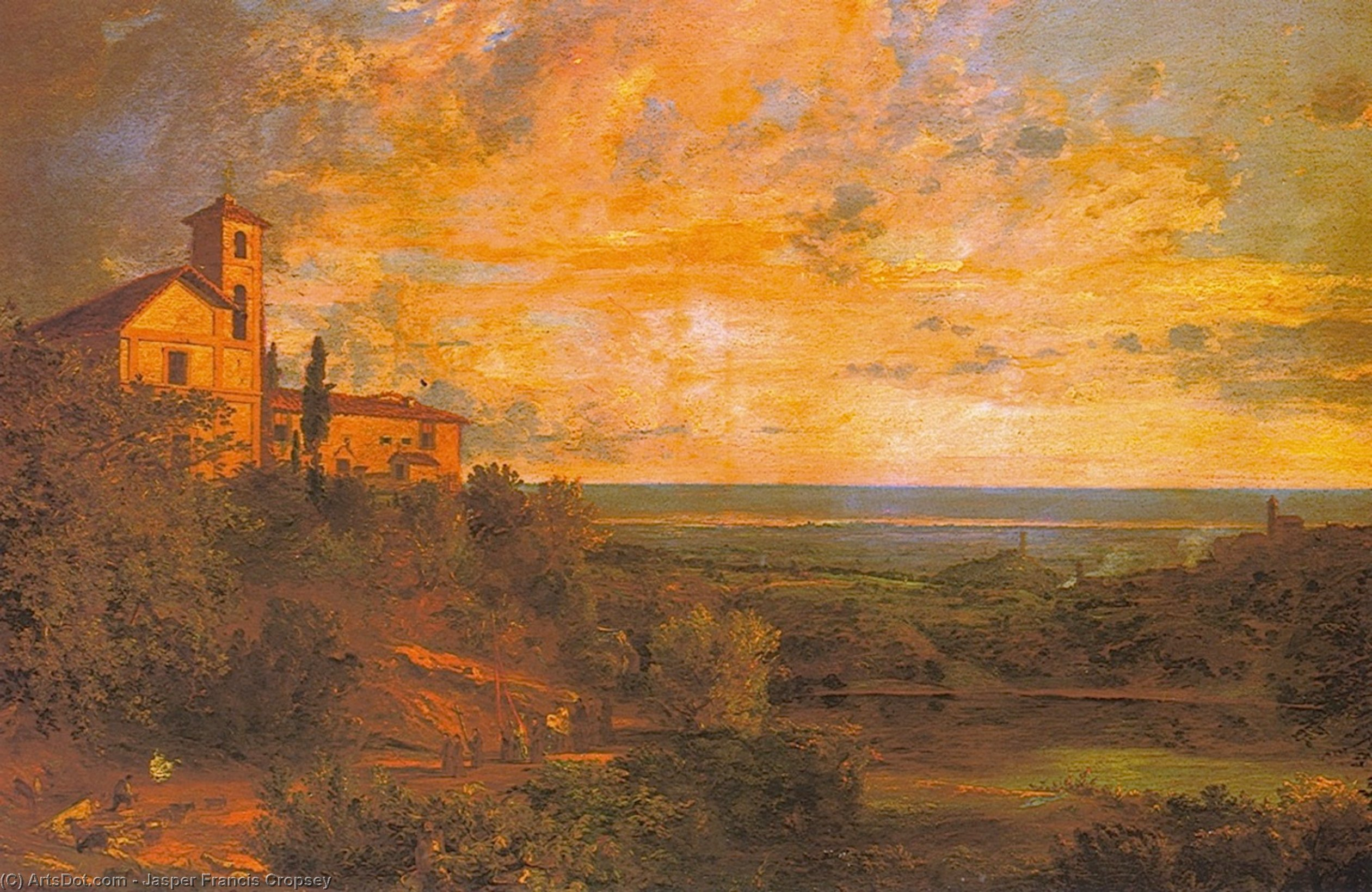 Procession at Nemi, Italy, Oil On Canvas by Jasper Francis Cropsey (1823-1900, United States)