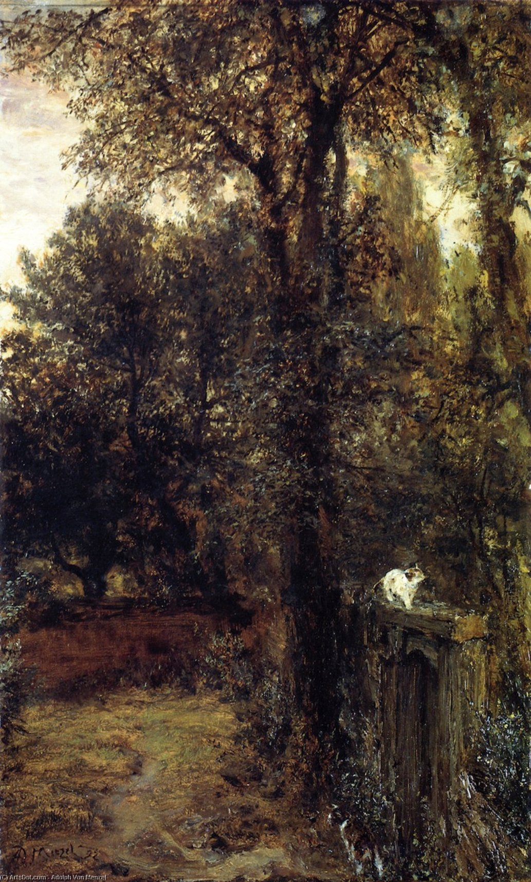 Quiet Corner (also known as Corner of an Old Park, with Two Cats), Oil On Canvas by Adolph Menzel (1815-1905, Poland)