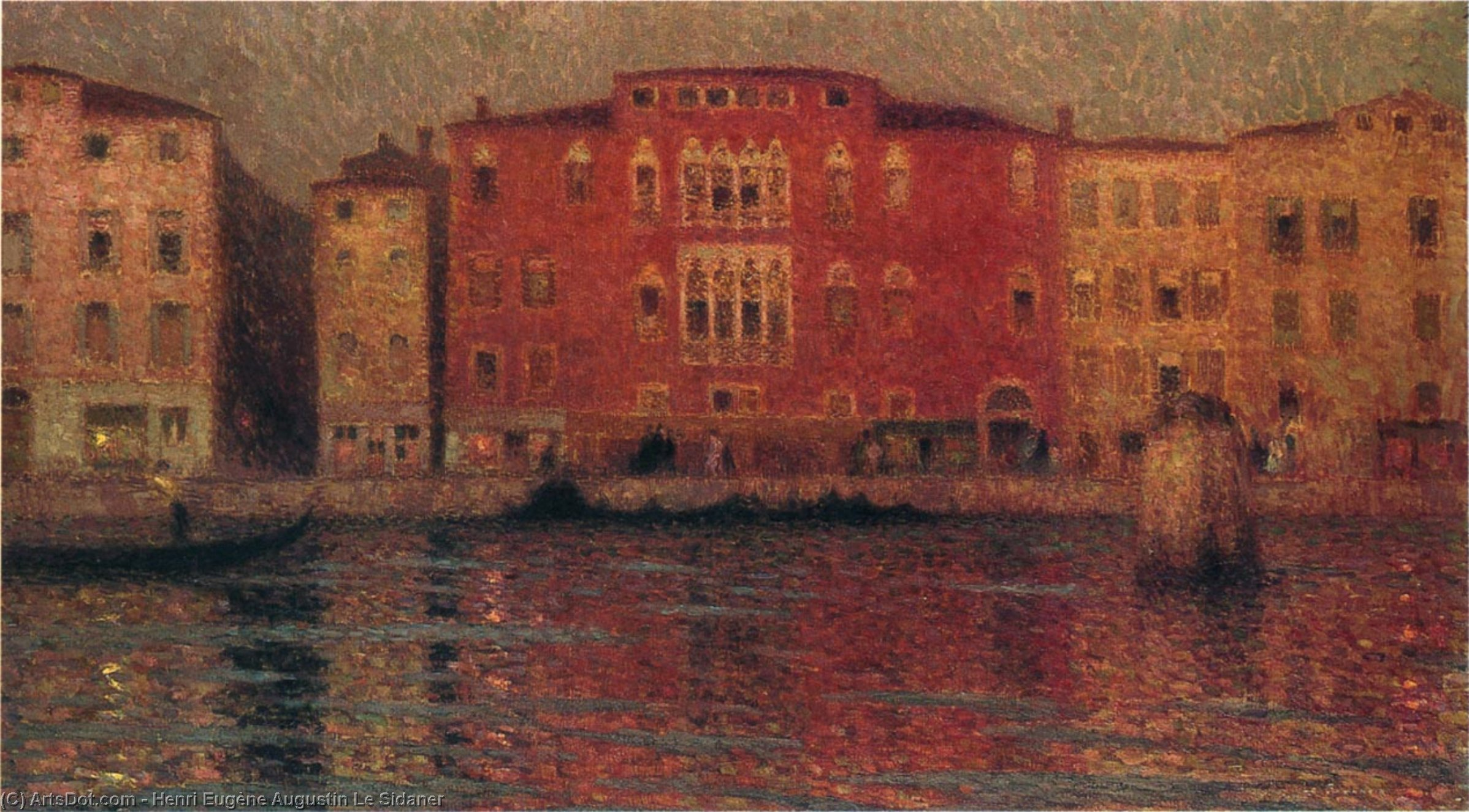 The Red Palace in Venice, Oil On Canvas by Henri Eugène Augustin Le Sidaner (1862-1939, Mauritius)