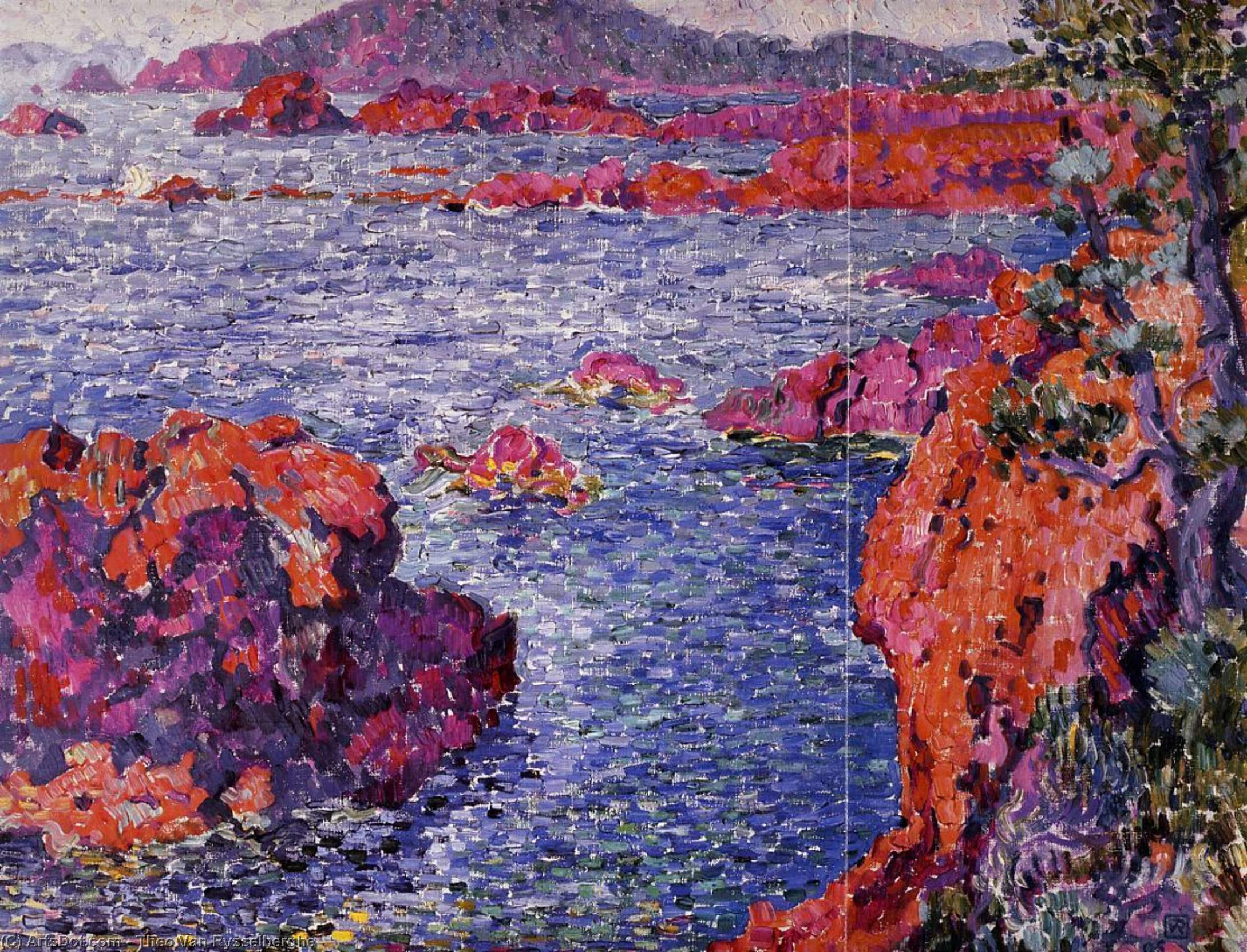 Rocks at Antheor, Oil On Canvas by Theo Van Rysselberghe (1862-1926, Belgium)