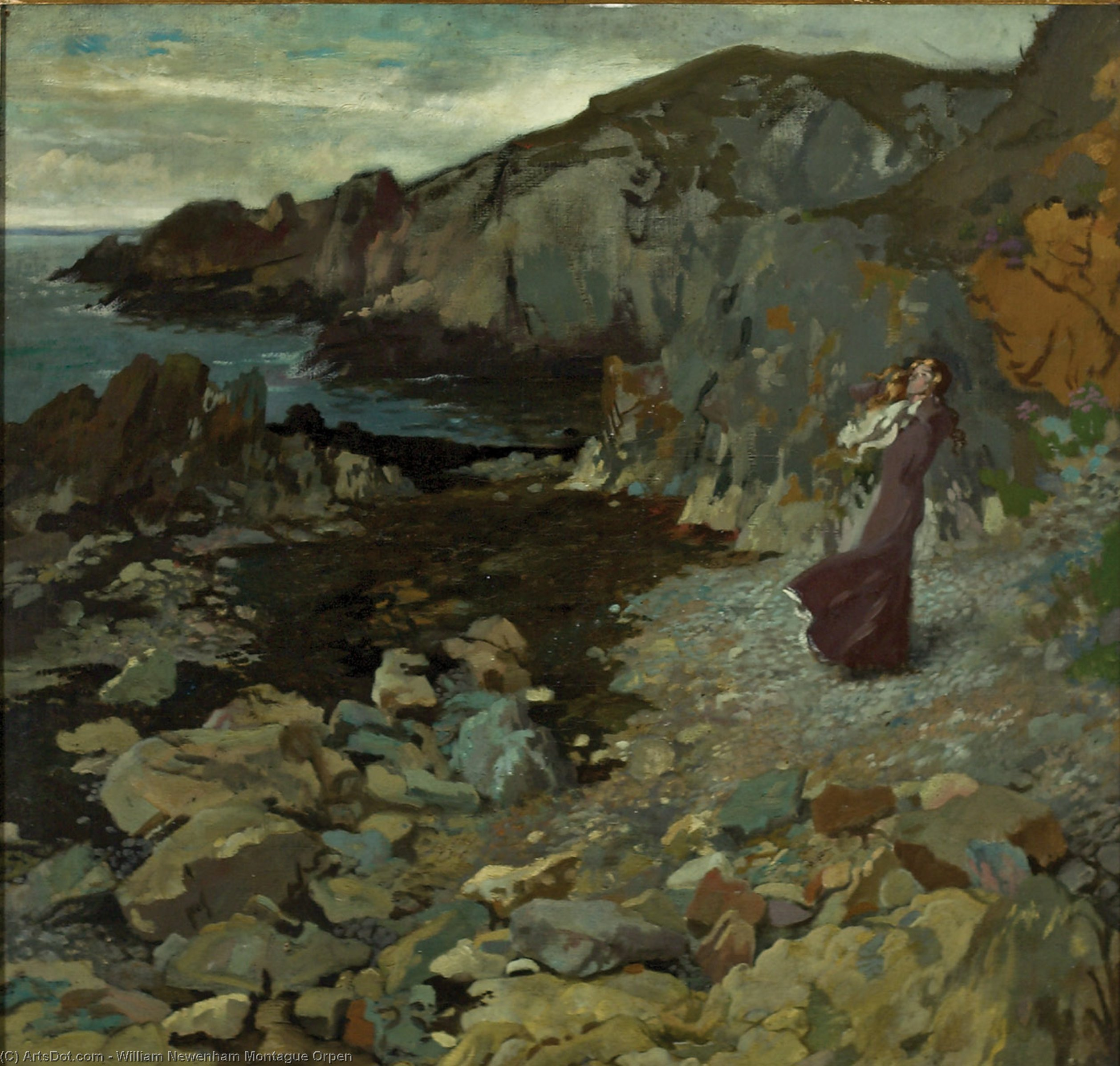 Rocky Coast Scene at Howth, 1909 by William Newenham Montague Orpen (1878-1931, Ireland) | Museum Art Reproductions | ArtsDot.com