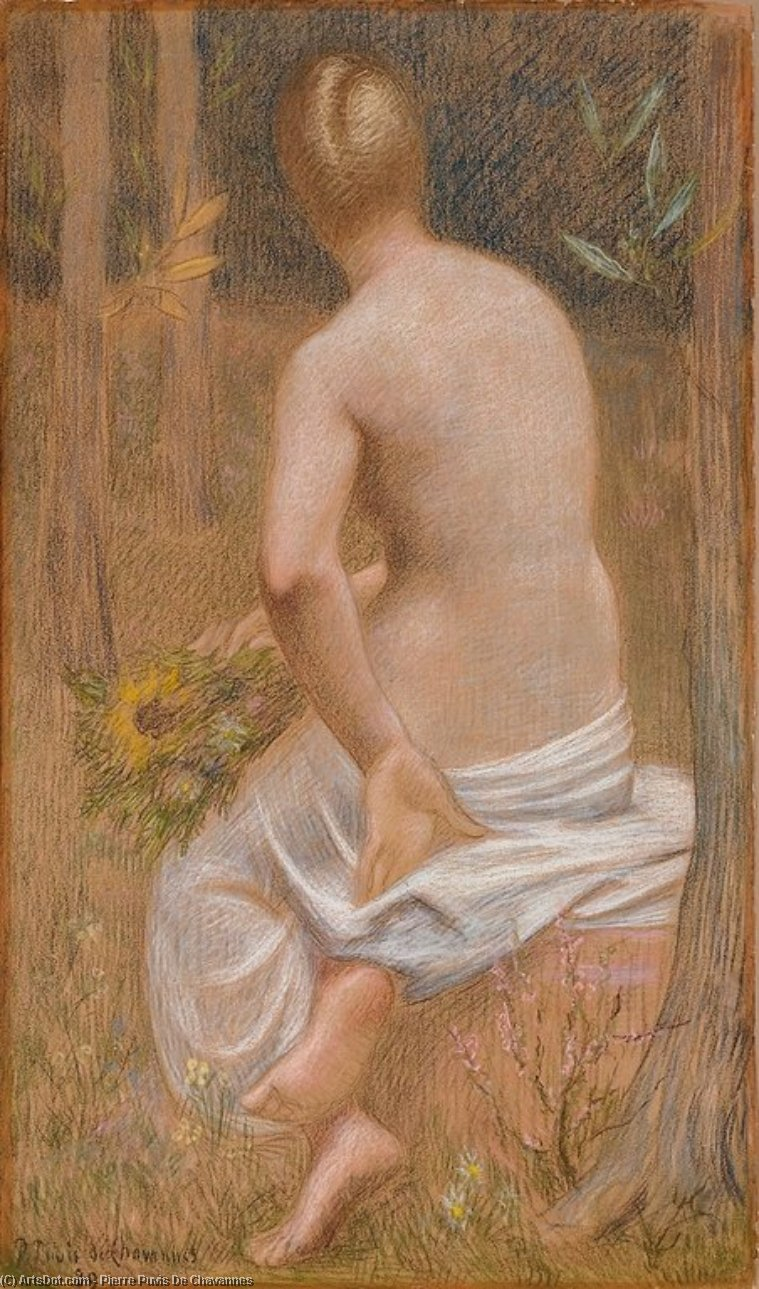 Seated Female Figure Seen from Behind, 1889 by Pierre Puvis De Chavannes (1824-1898, France) | Art Reproduction | ArtsDot.com