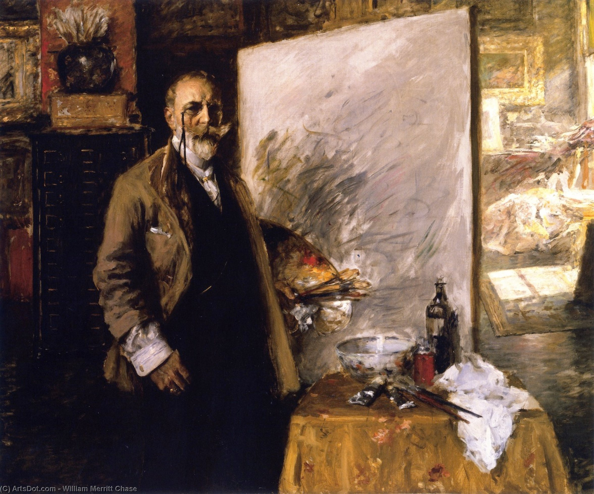 Self Portrait in the Studio, Oil On Canvas by William Merritt Chase (1849-1916, United States)