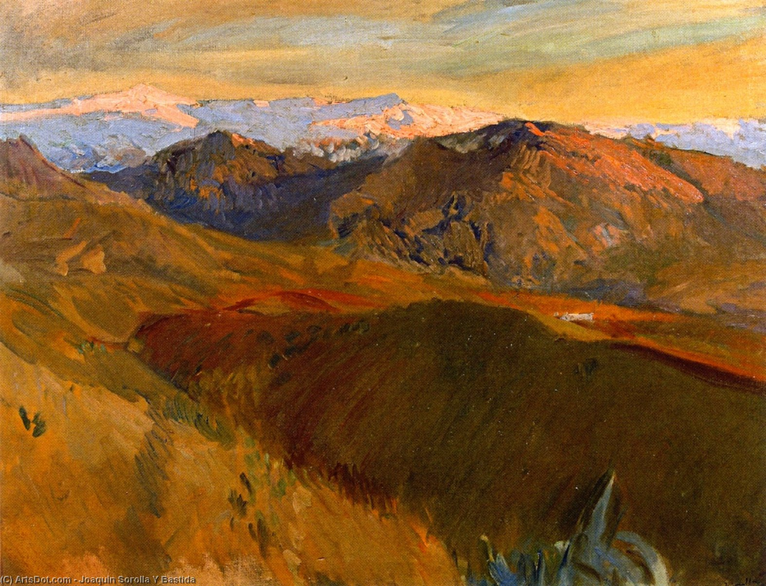 Sierra Nevada from the Cemetery, Granada, Oil On Canvas by Joaquin Sorolla Y Bastida (1863-1923, Spain)