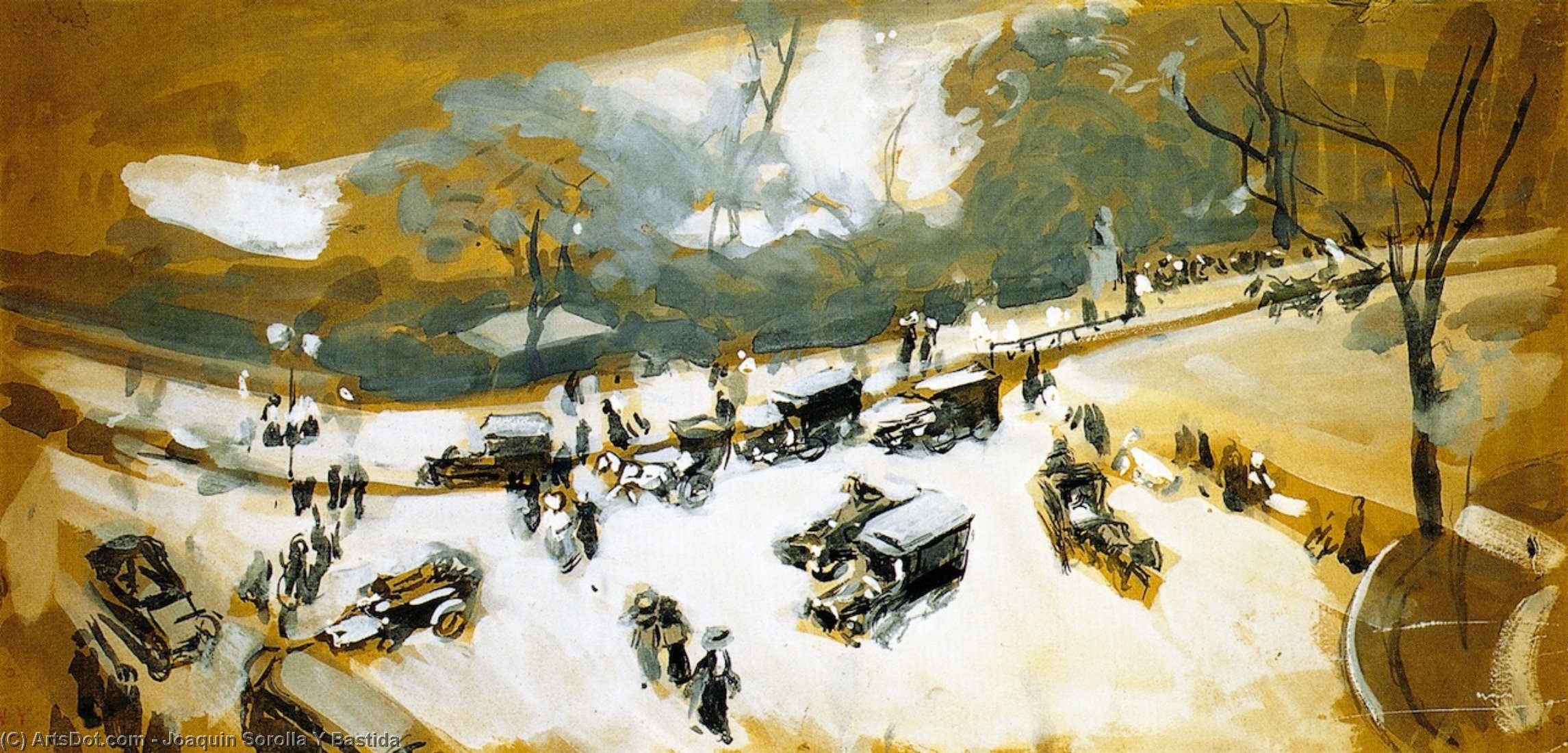 Snow in Central Park, Painting by Joaquin Sorolla Y Bastida (1863-1923, Spain)
