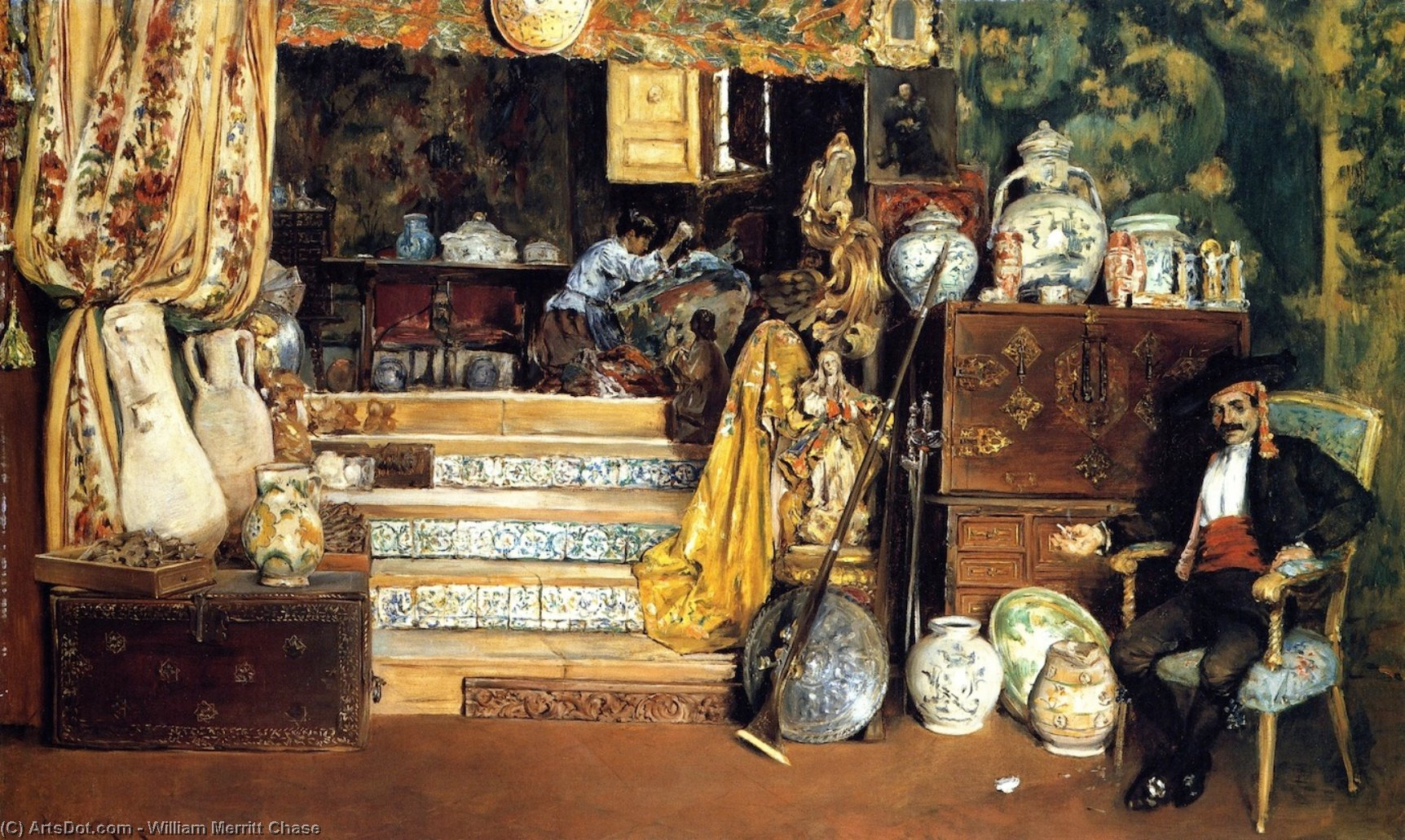 Spanish Bric-a-Brac Shop (also known as A Spanish Curiosity Shop), Oil On Canvas by William Merritt Chase (1849-1916, United States)