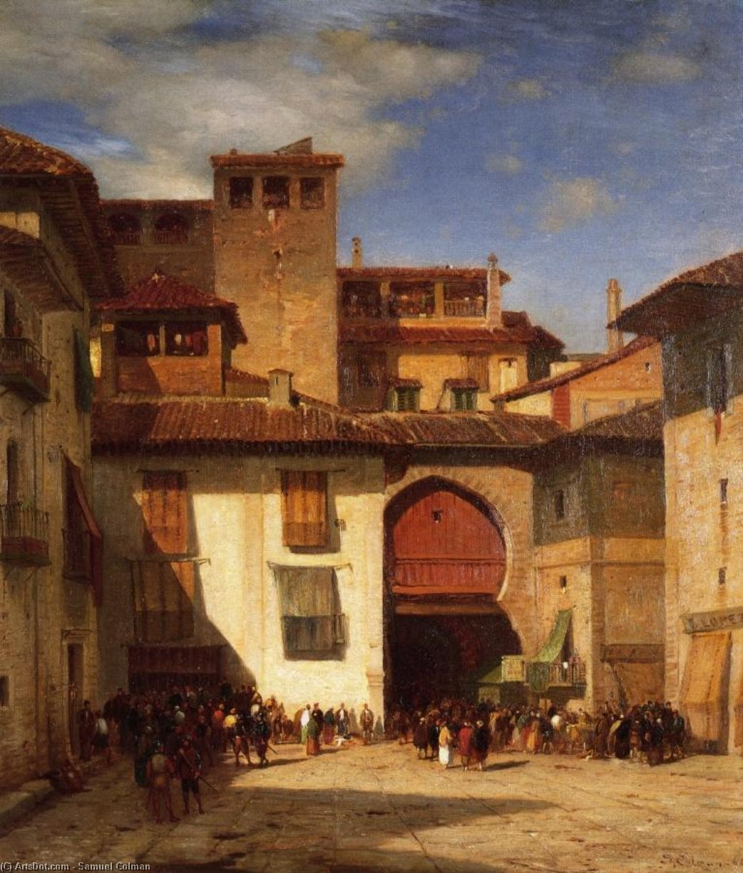 Spanish Market Place, Oil On Canvas by Samuel Colman (1832-1920, United Kingdom)